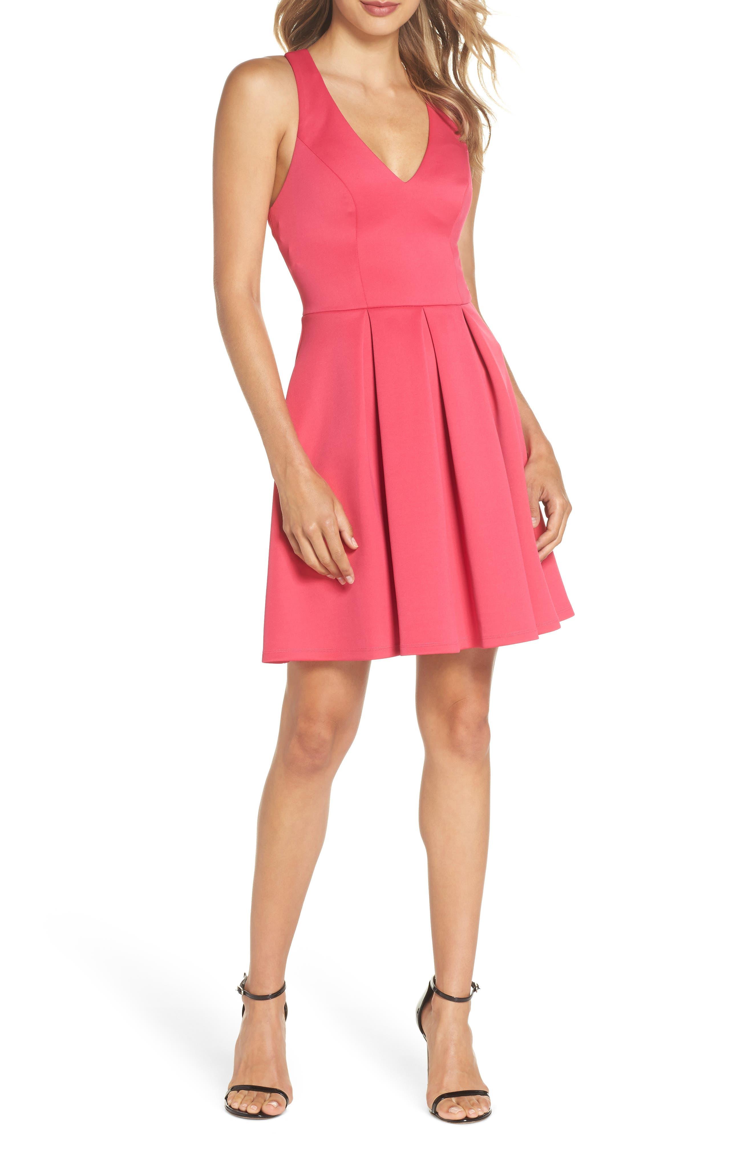 Lace Back Scuba Dress,                             Main thumbnail 1, color,                             Hot Pink/ Black