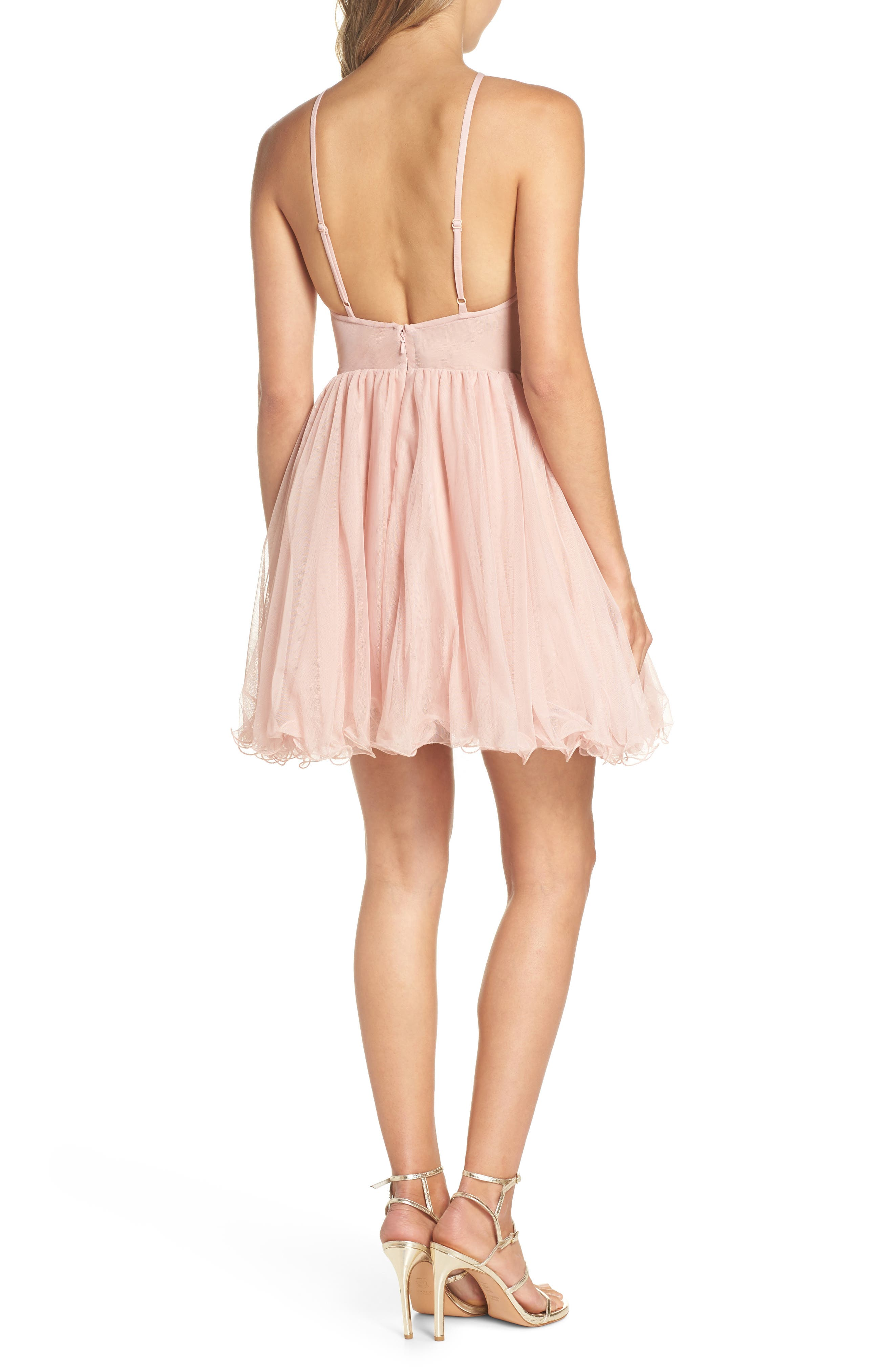 Embellished Fit & Flare Dress,                             Alternate thumbnail 2, color,                             Blush/ Gold