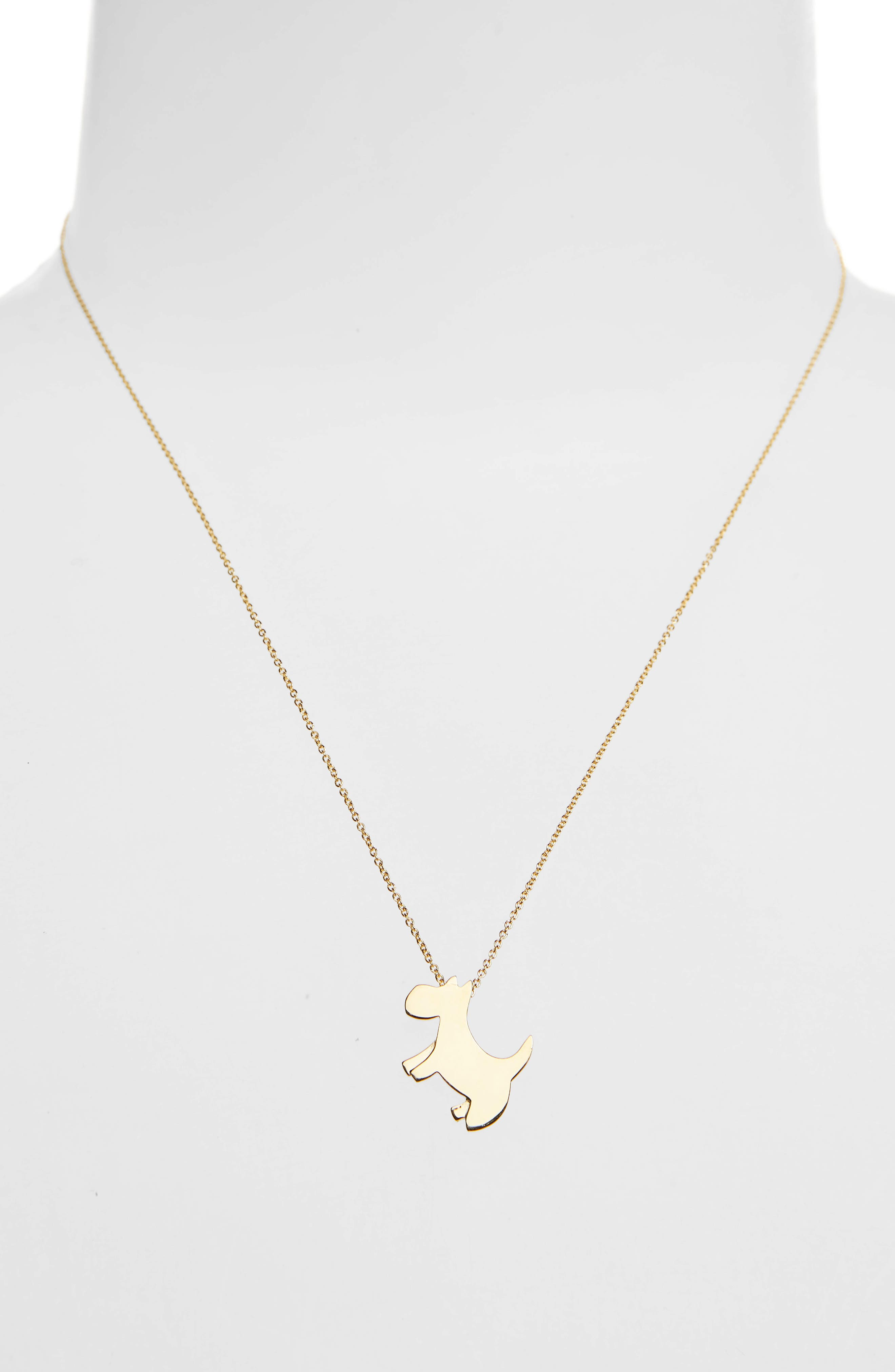 Scottie Dog Necklace,                             Alternate thumbnail 2, color,                             Yellow Gold