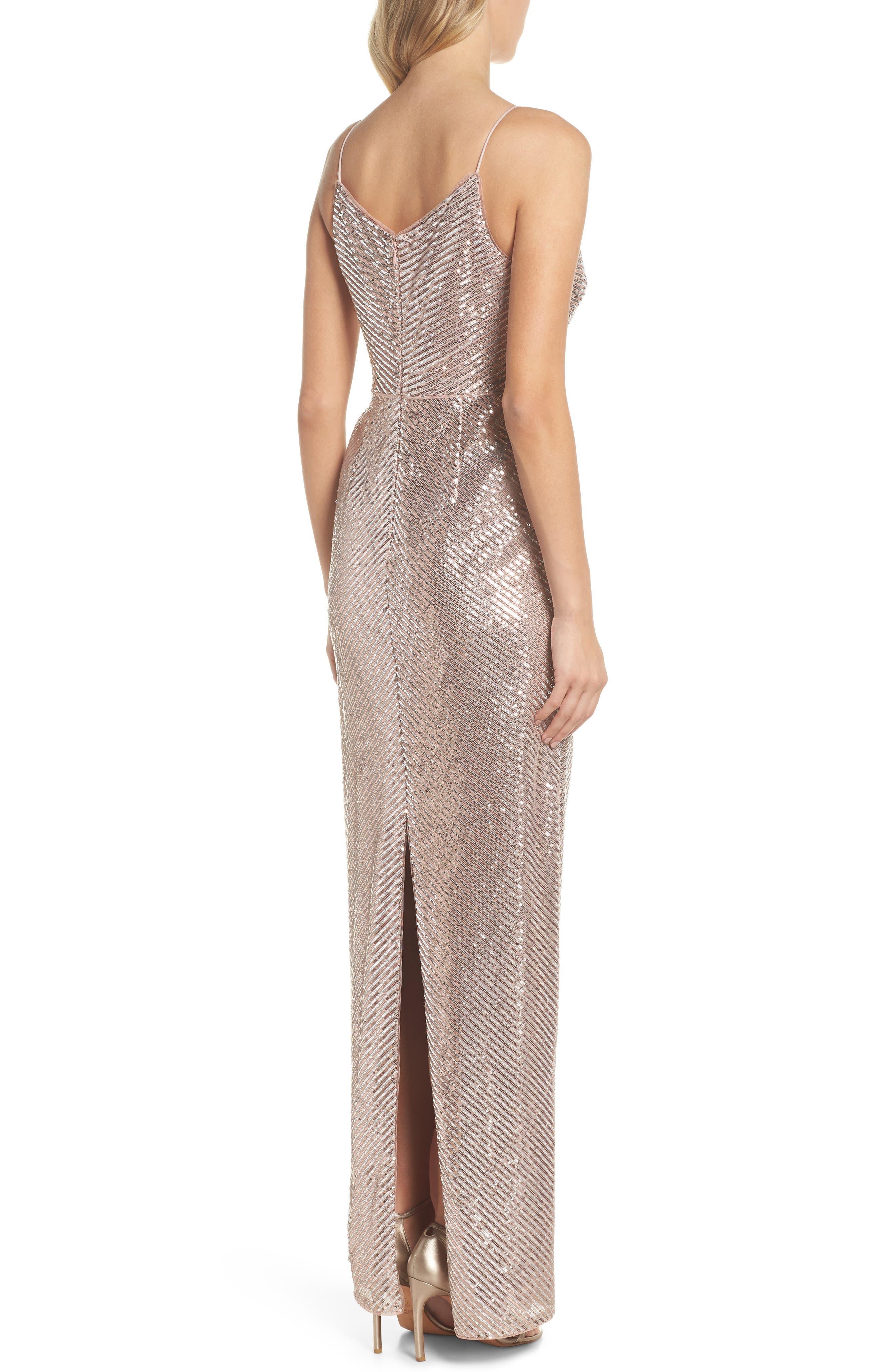 Stripe Sequin Gown,                             Alternate thumbnail 2, color,                             Rose Gold