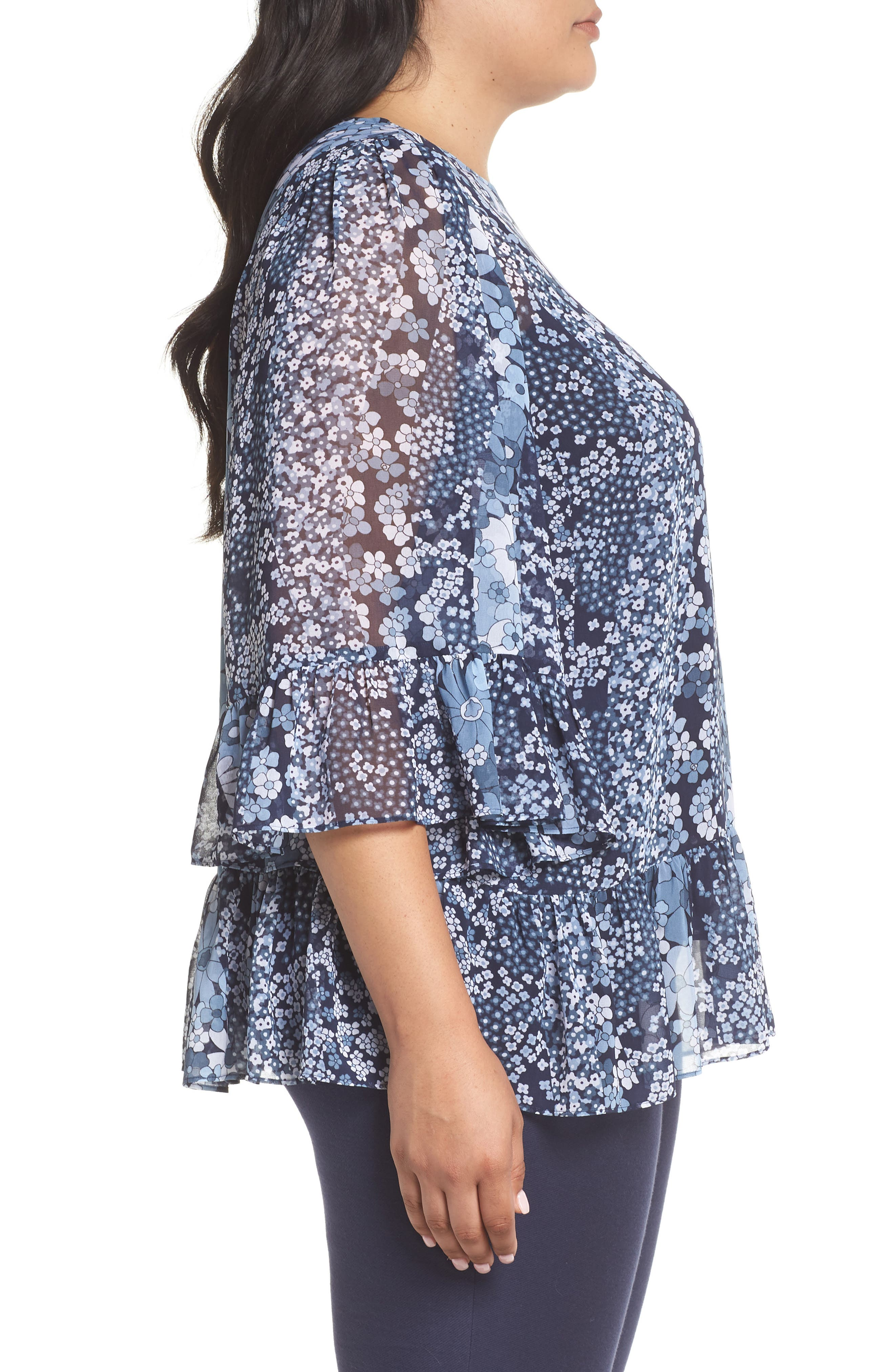 Patchwork Flowers Top,                             Alternate thumbnail 3, color,                             True Navy/ Light Chambray