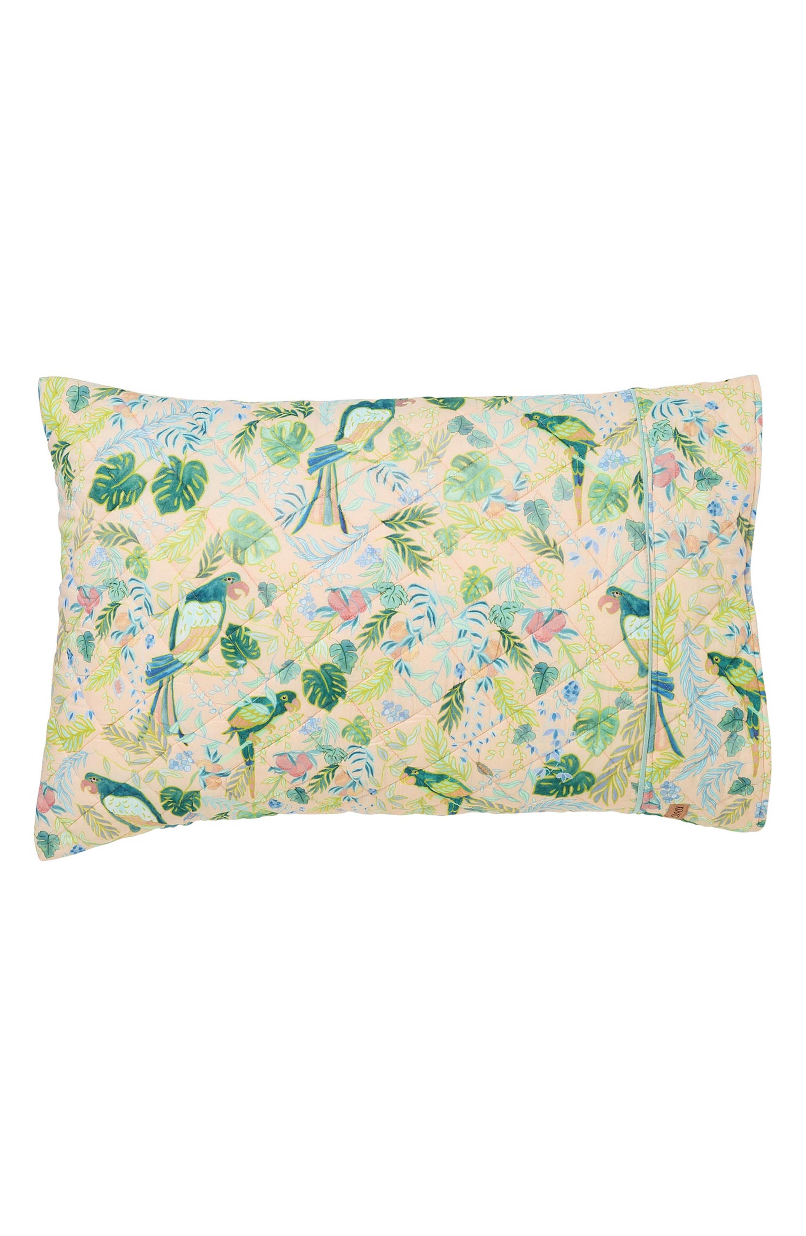 Birds of Paradise Quilted Cotton Pillowcase,                         Main,                         color, Multi