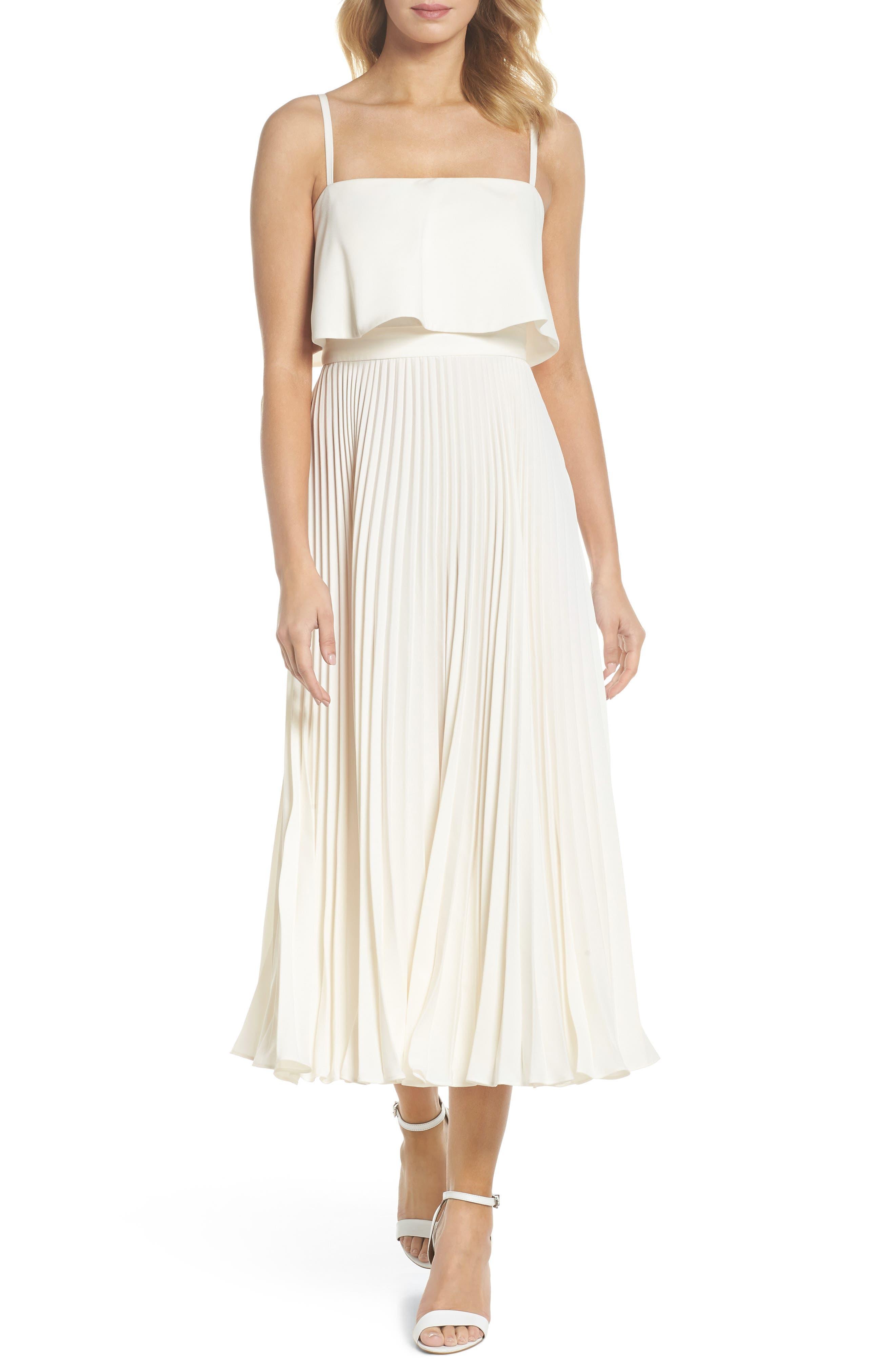 Pleated Midi Dress,                         Main,                         color, Bone