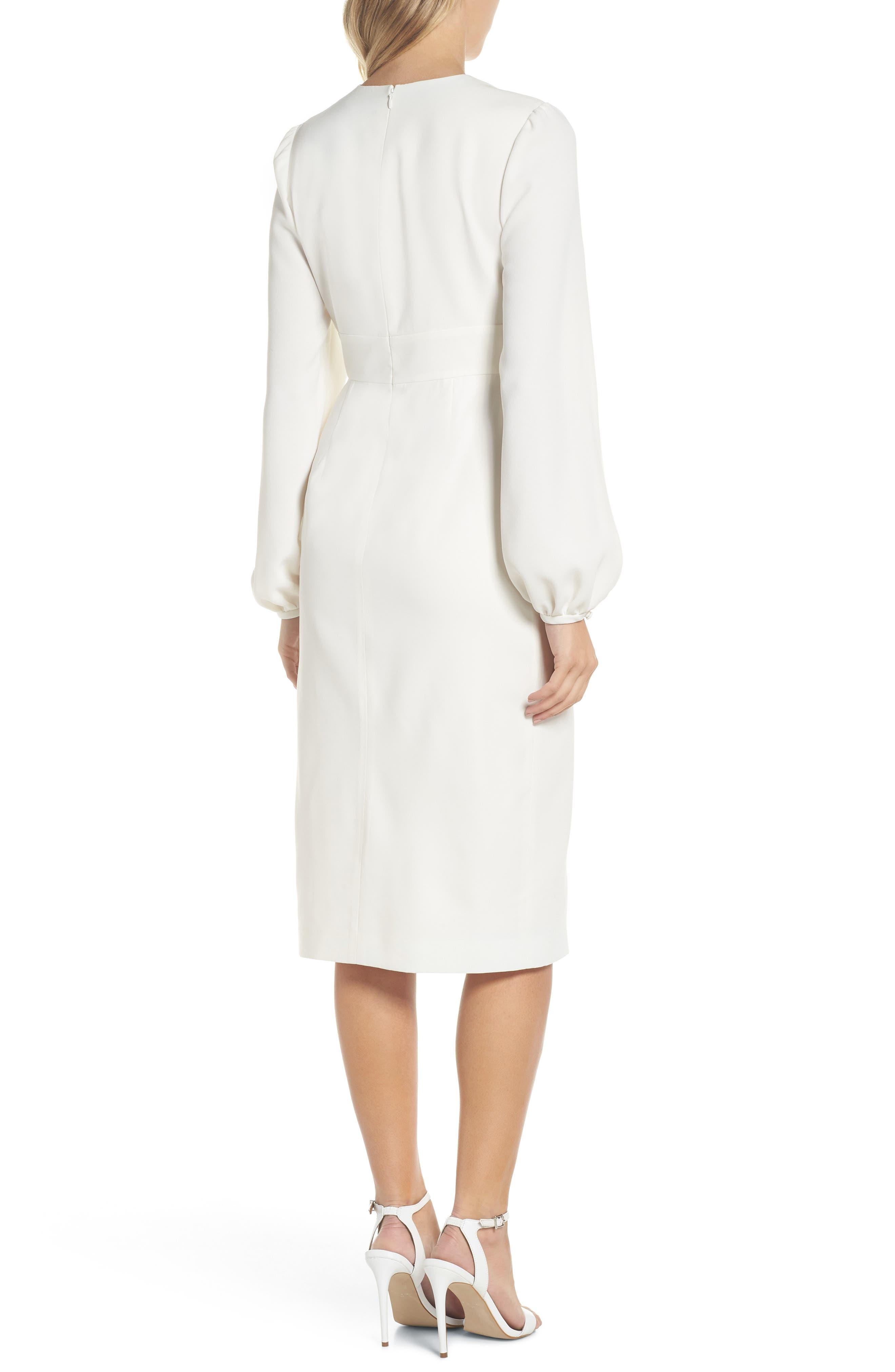 Slit Sleeve Sheath Dress,                             Alternate thumbnail 2, color,                             Off-White