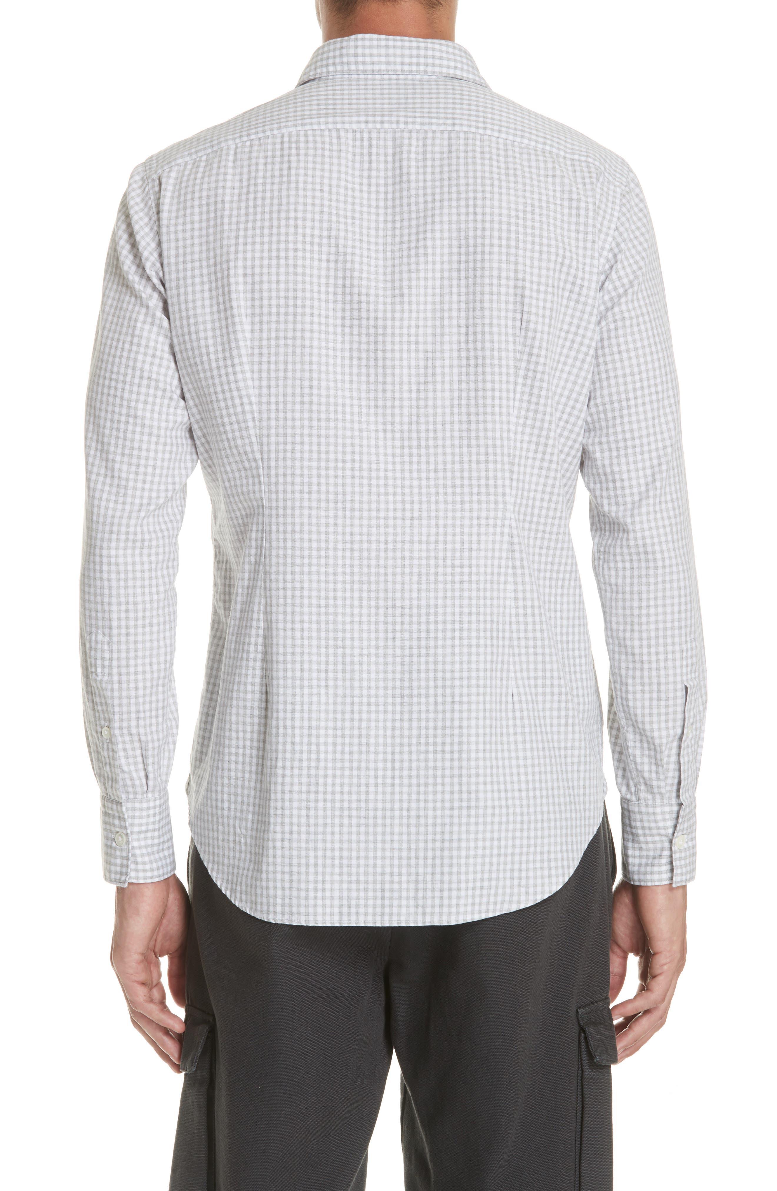 Slim Fit Check Dress Shirt,                             Alternate thumbnail 3, color,                             Light Grey