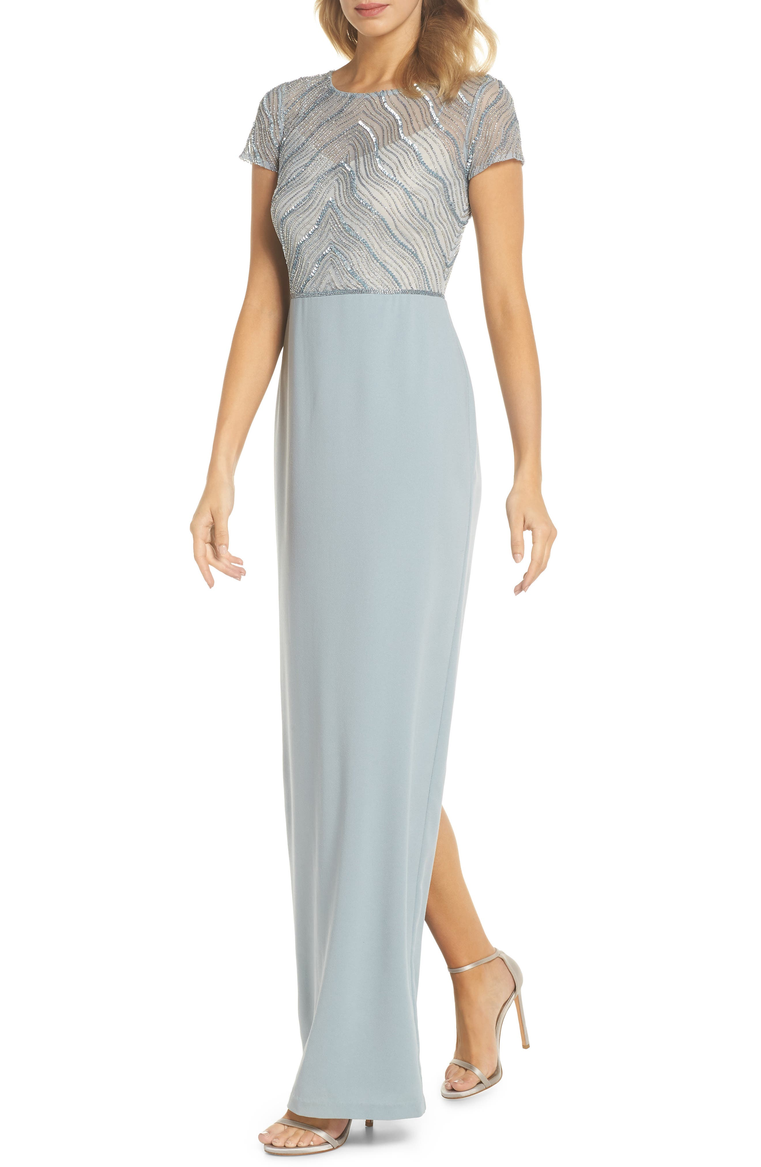 Beaded Illusion Bodice Gown,                         Main,                         color, Blue Heather