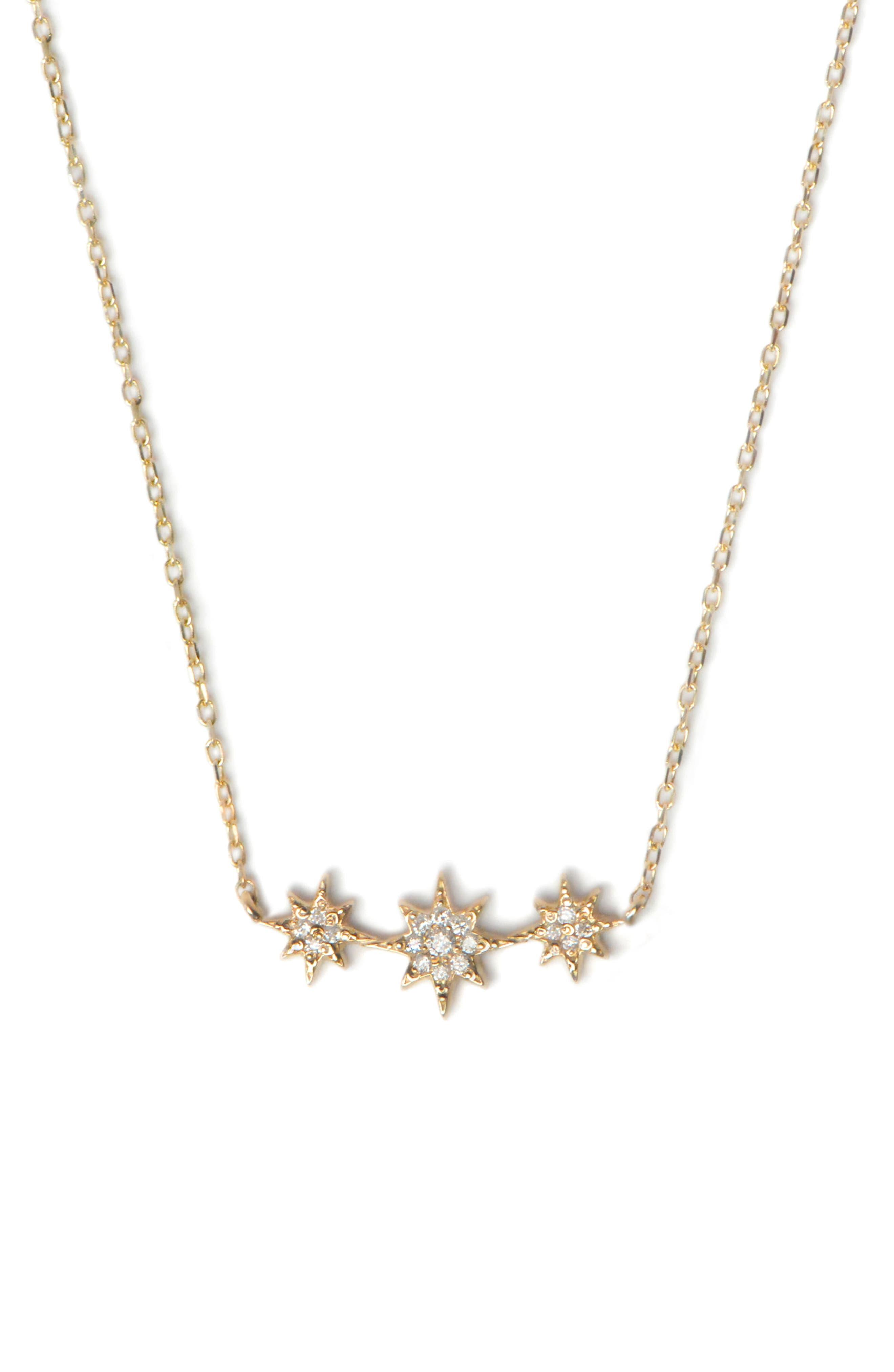 Aztec North Star Curve Diamond Pavé Necklace,                             Main thumbnail 1, color,                             Gold