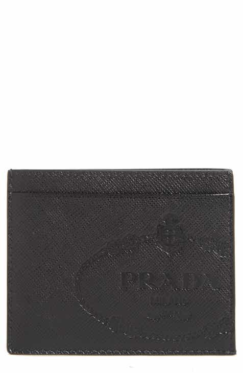 112f09f76d15 Prada Logo Saffiano Leather Card Case