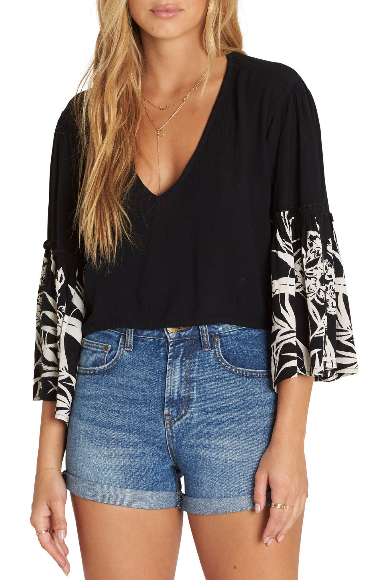 Billabong Island Folk Bell Sleeve Top