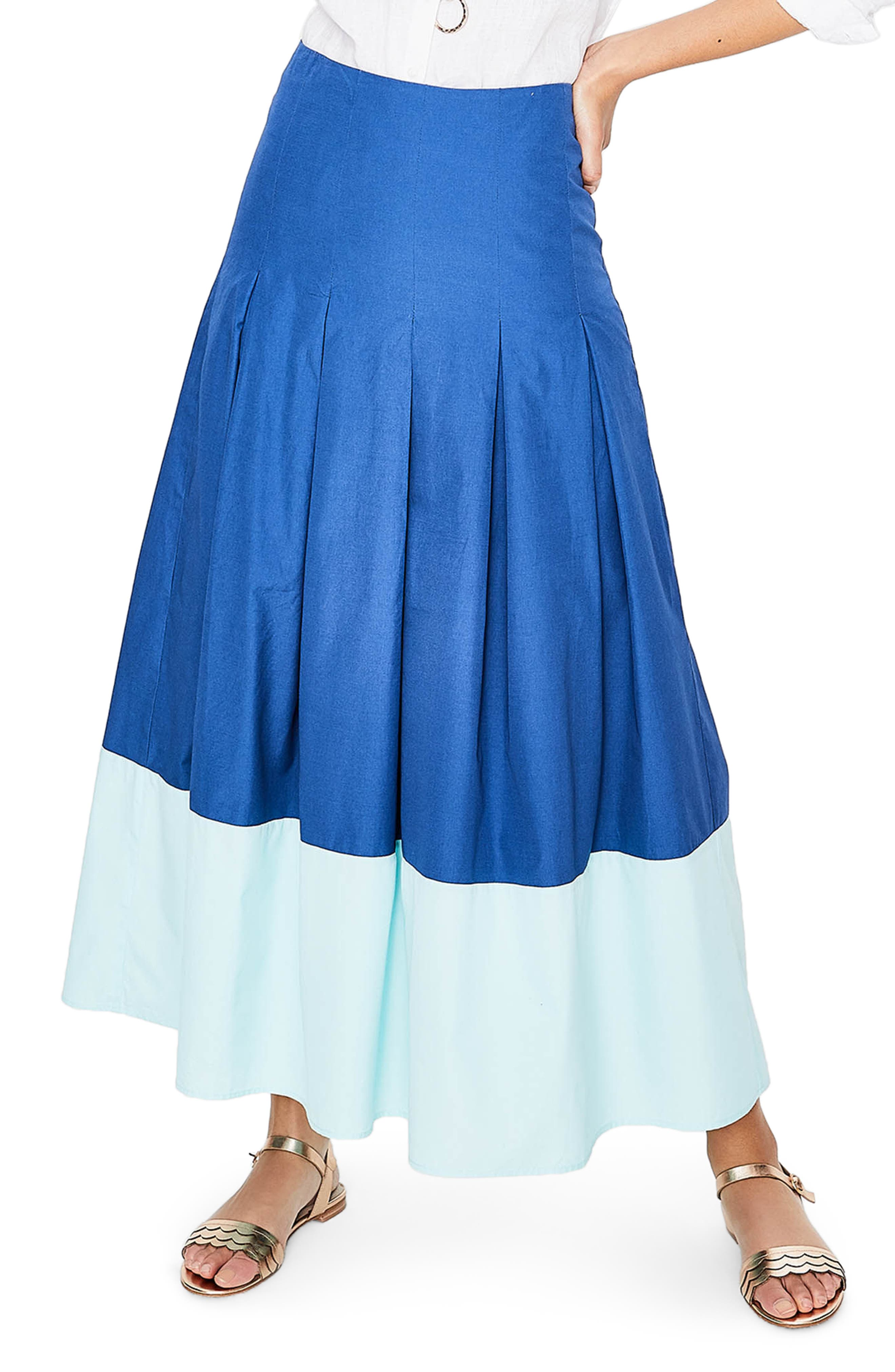 Beatrice Flare Midi Skirt,                             Main thumbnail 1, color,                             Riviera Blue W Rippl