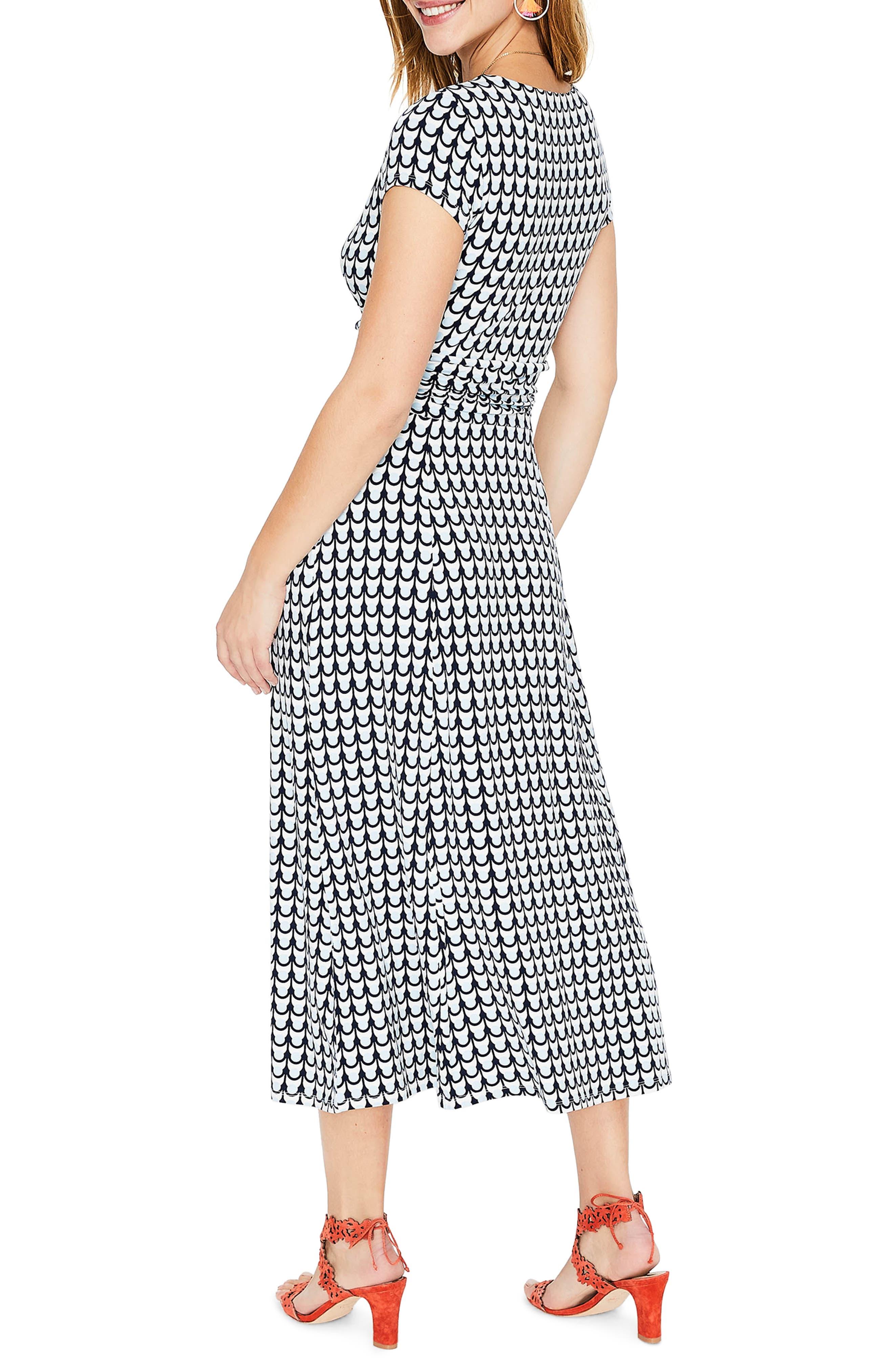 Faux Wrap Midi Dress,                             Alternate thumbnail 2, color,                             Ice Grey Retro Spot