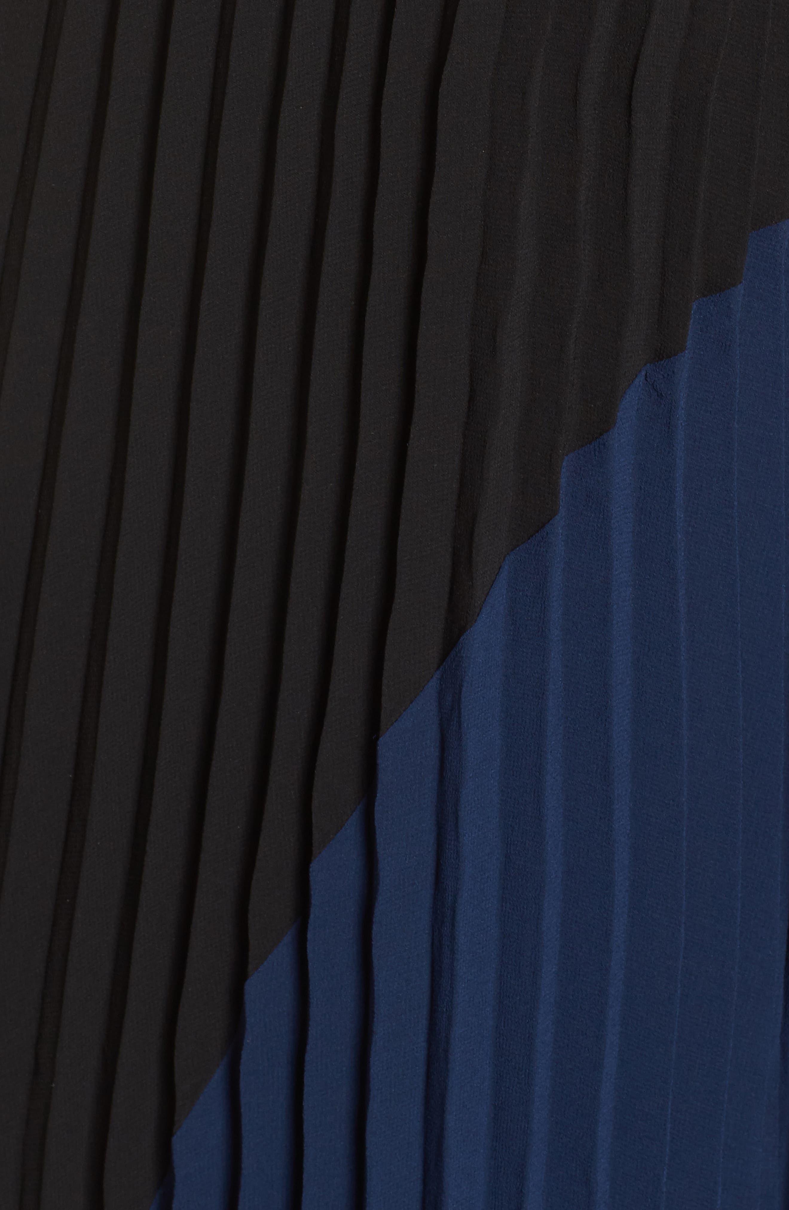 Nealea Pleat Chiffon Gown,                             Alternate thumbnail 6, color,                             Black/ Navy