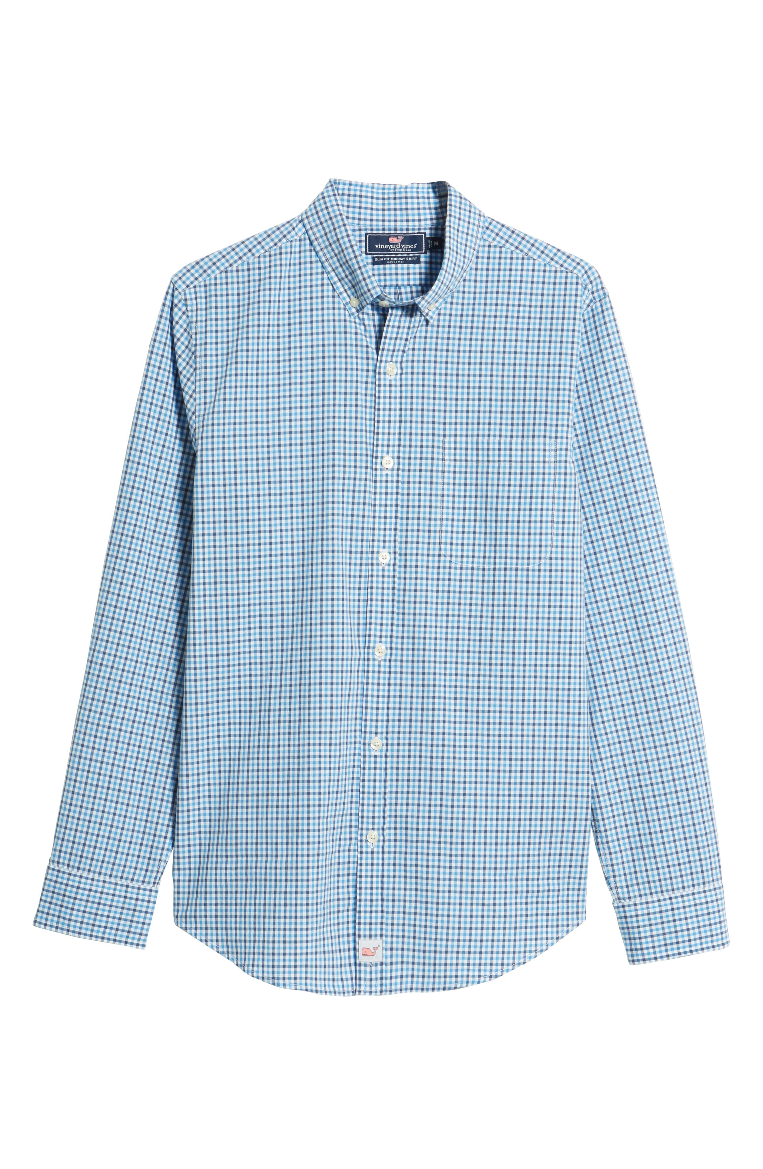 Point Gammon Slim Fit Gingham Sport Shirt,                             Alternate thumbnail 6, color,                             Moonshine