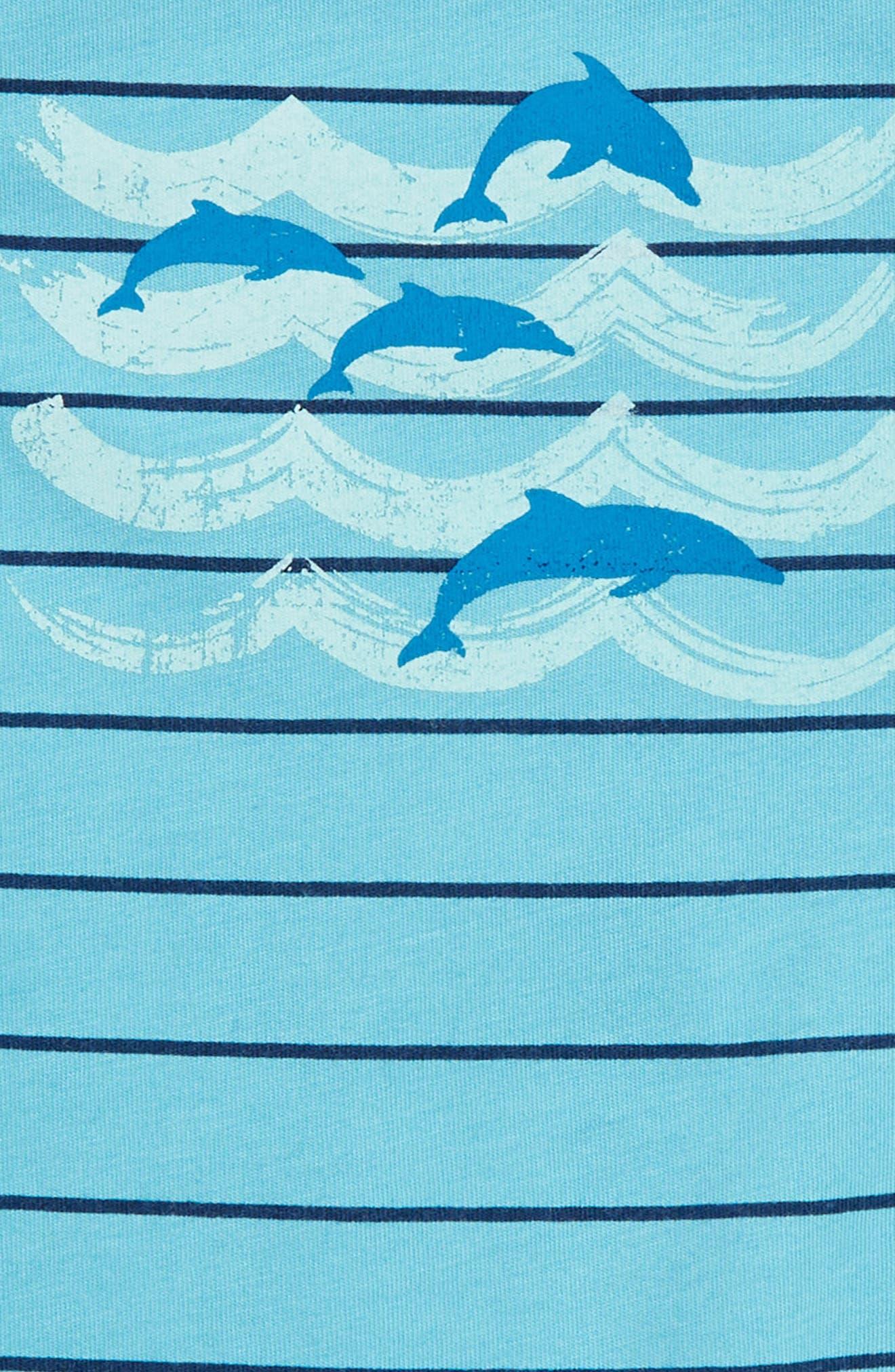 Dolphin Stripe Romper,                             Alternate thumbnail 2, color,                             Maui Blue Stripe