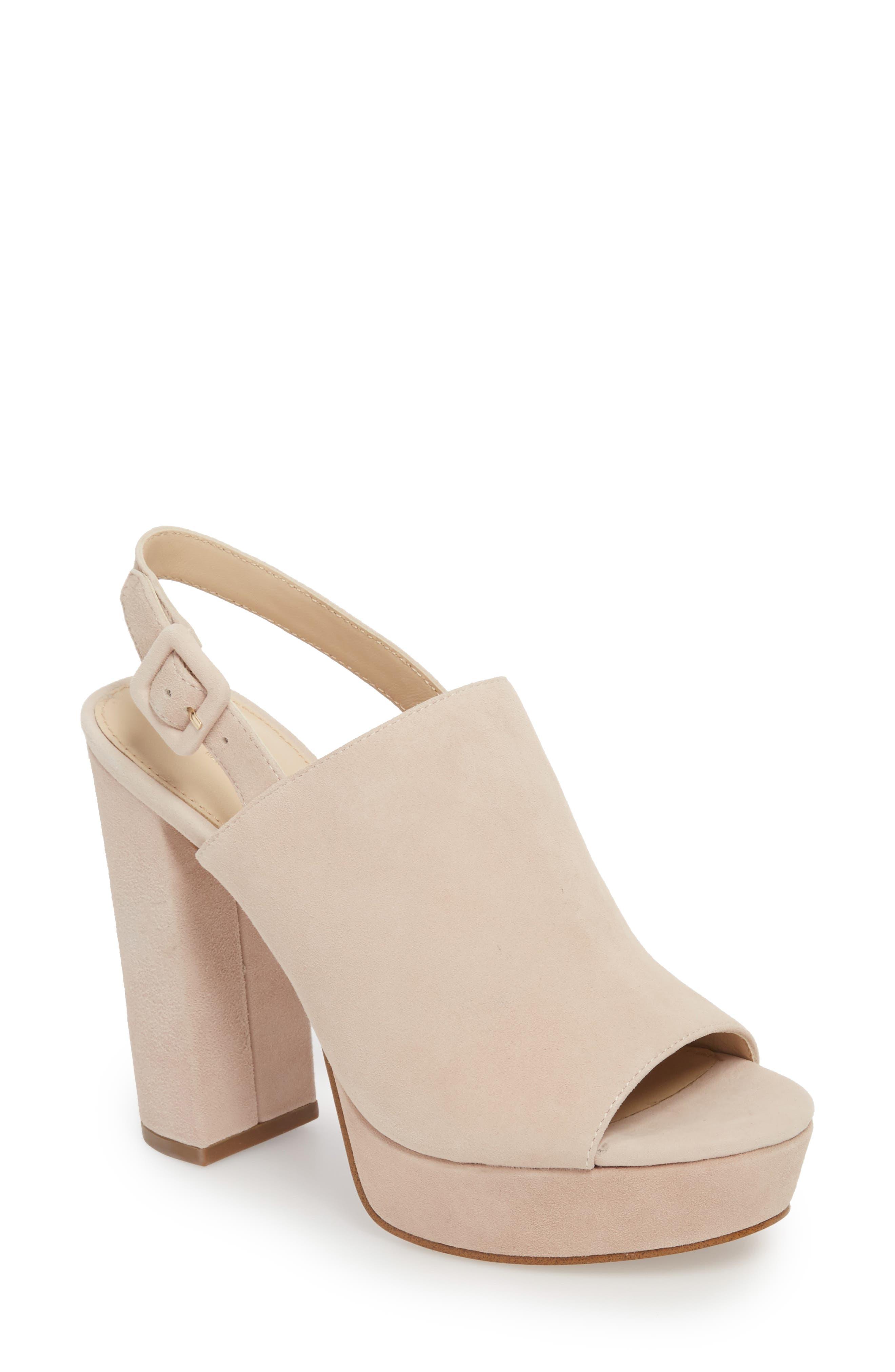 Jolene Platform Sandal,                             Main thumbnail 1, color,                             Blush Suede