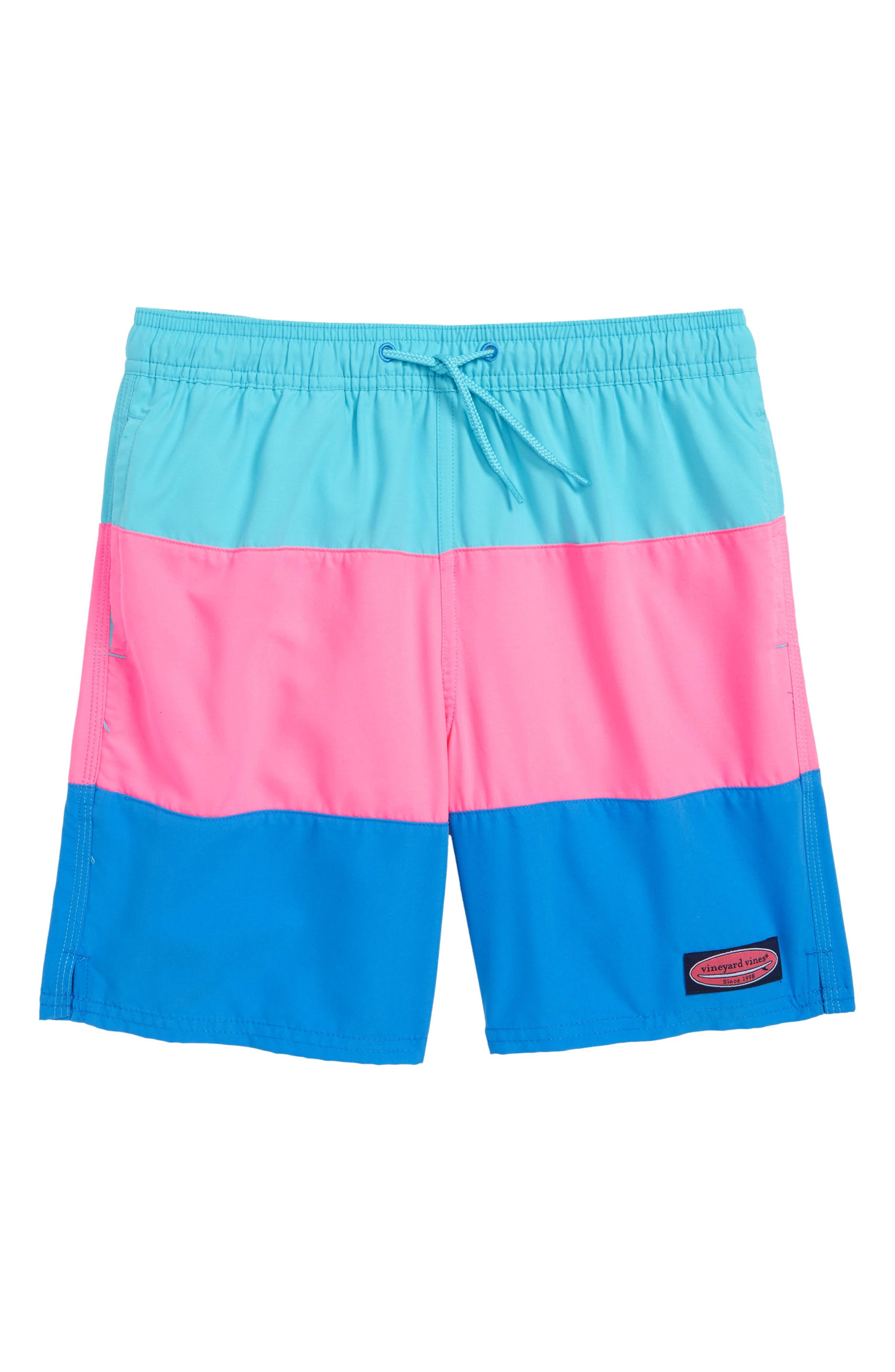 Chappy Pieced Rough Seas Swim Trunks,                         Main,                         color, Turqs