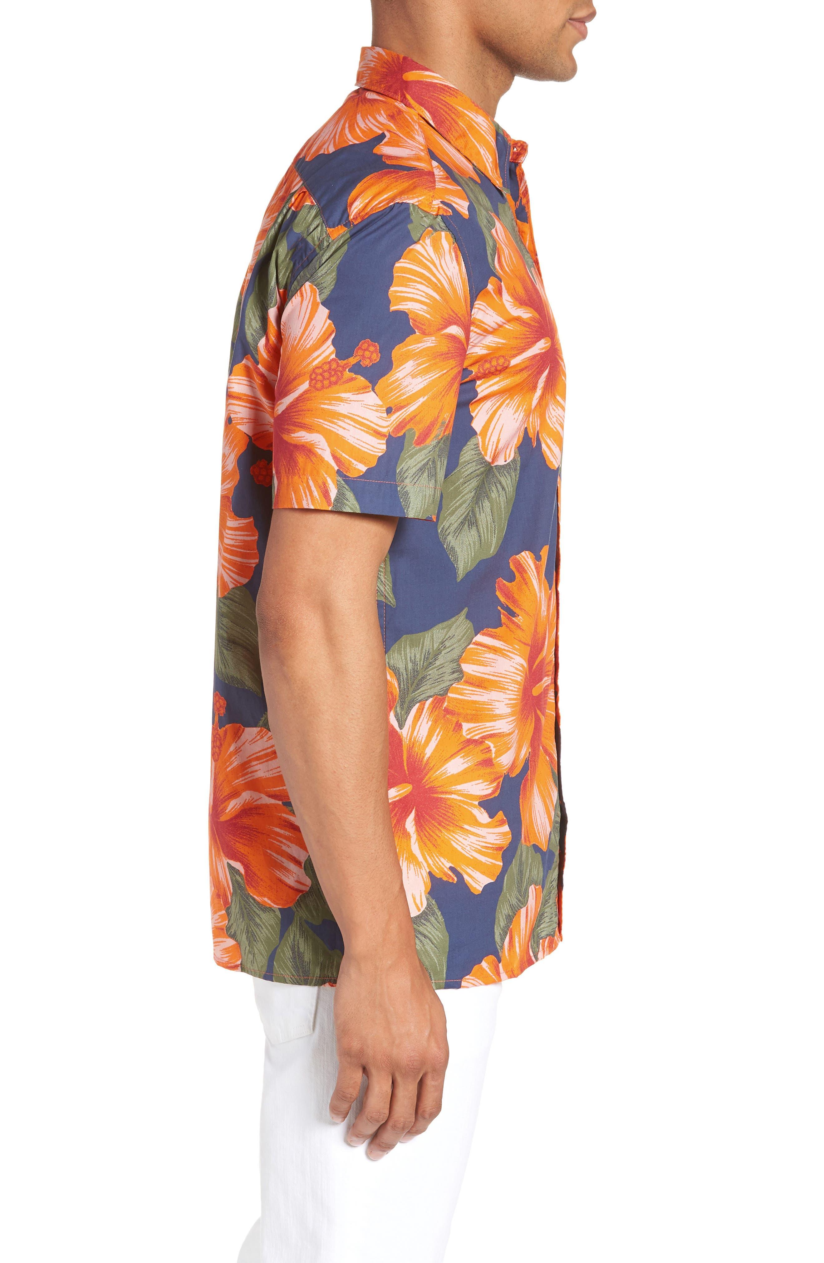 Wela Regular Fit Hawaiian Camp Shirt,                             Alternate thumbnail 4, color,                             Deep Cobalt