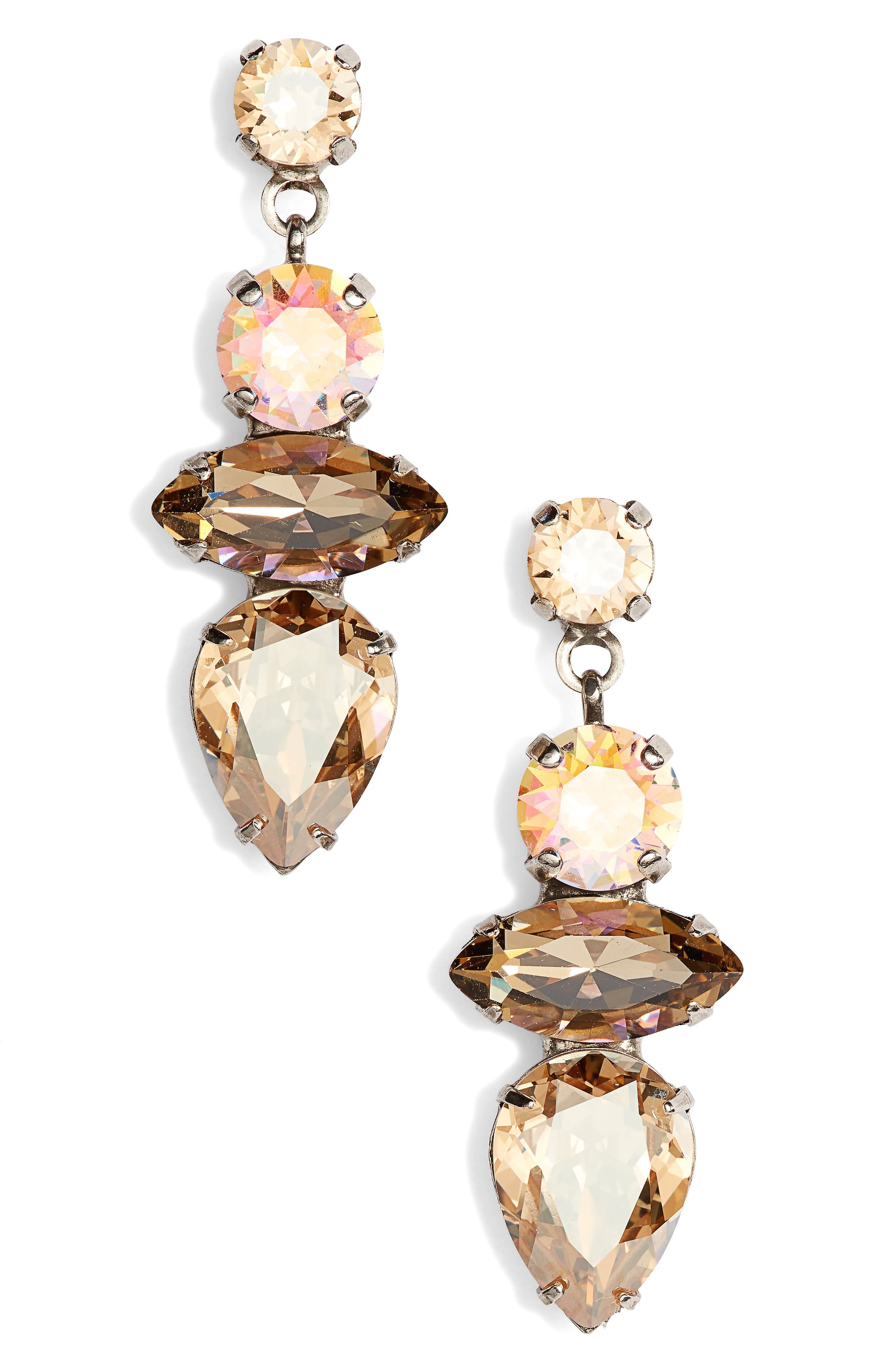 Narcissus Crystal Drop Earrings,                             Main thumbnail 1, color,                             Tan