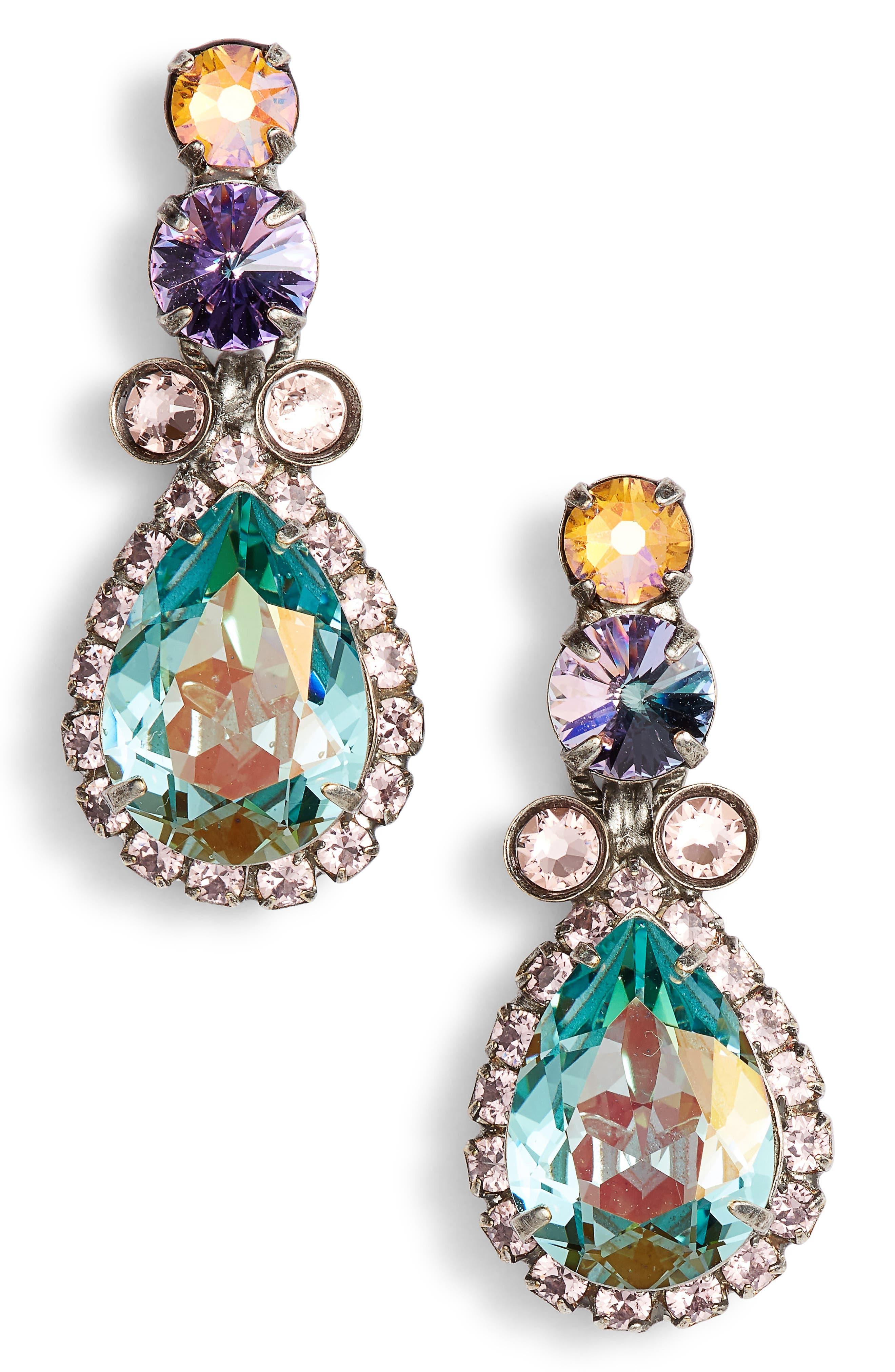 Brugmansia Crystal Drop Earrings,                             Main thumbnail 1, color,                             Blue/ Purple