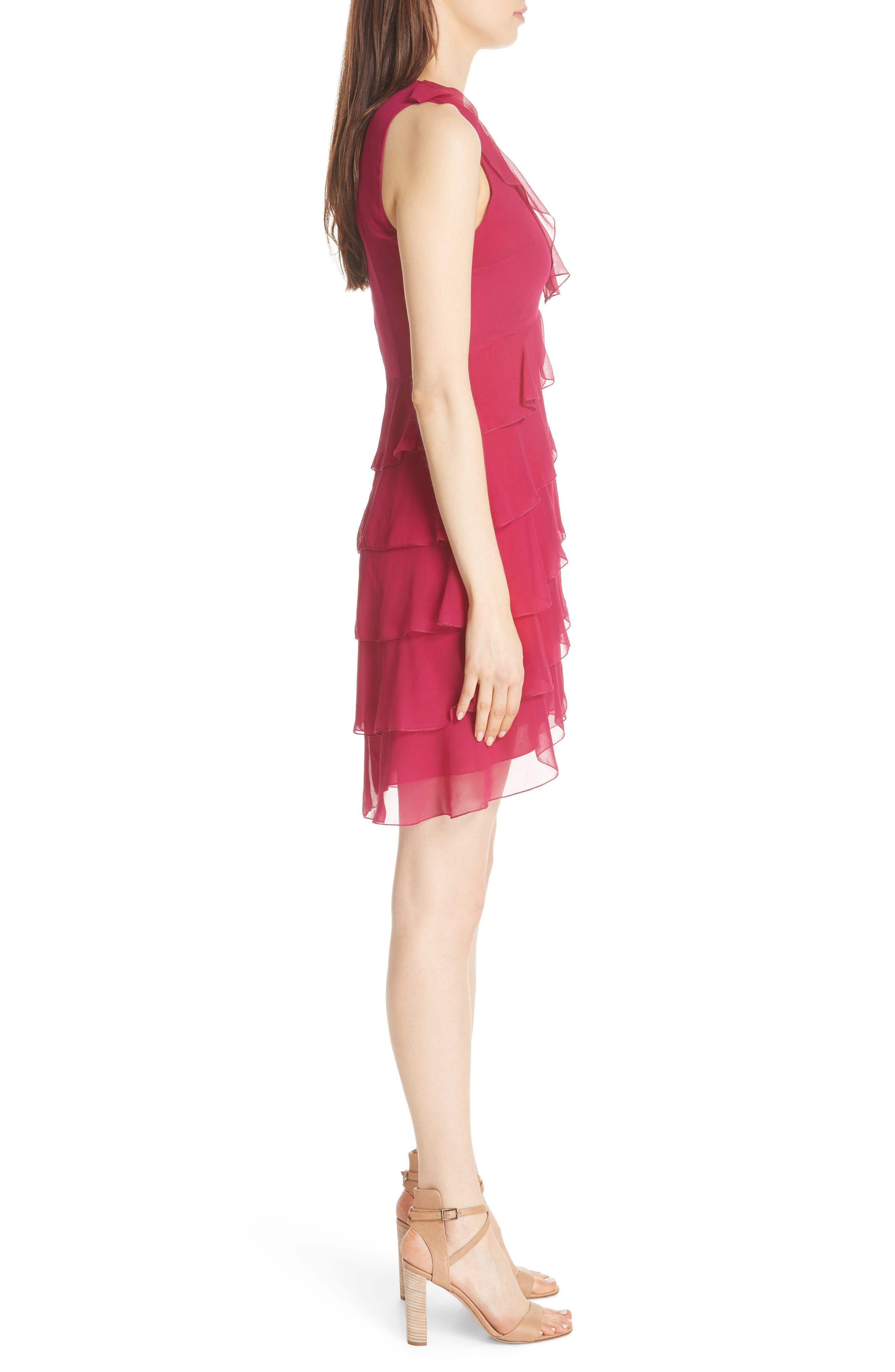 Felicita Ruffle Silk Dress,                             Alternate thumbnail 4, color,                             Raspberry