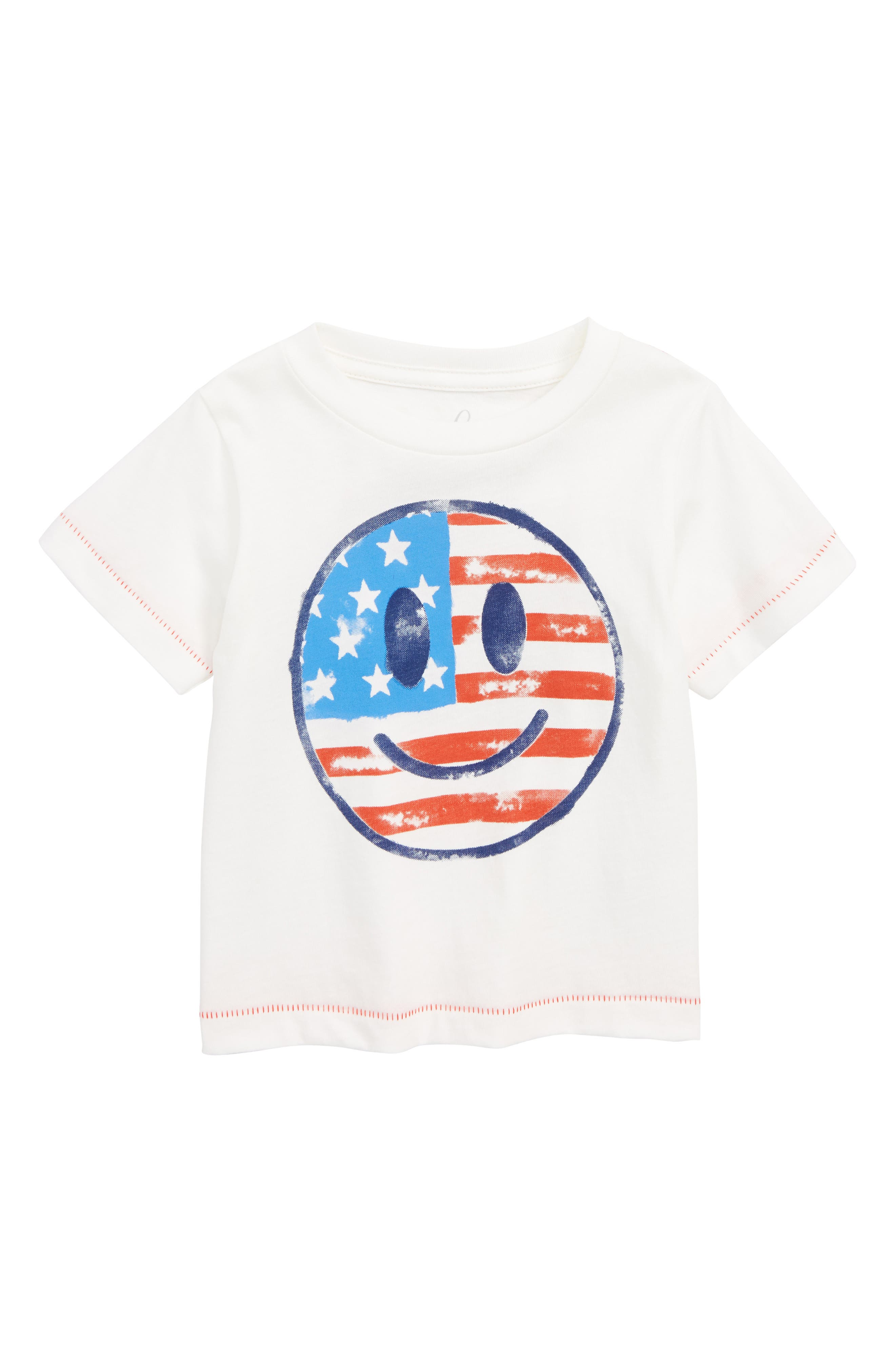 Smiley Face Flag T-Shirt,                             Main thumbnail 1, color,                             Ivory