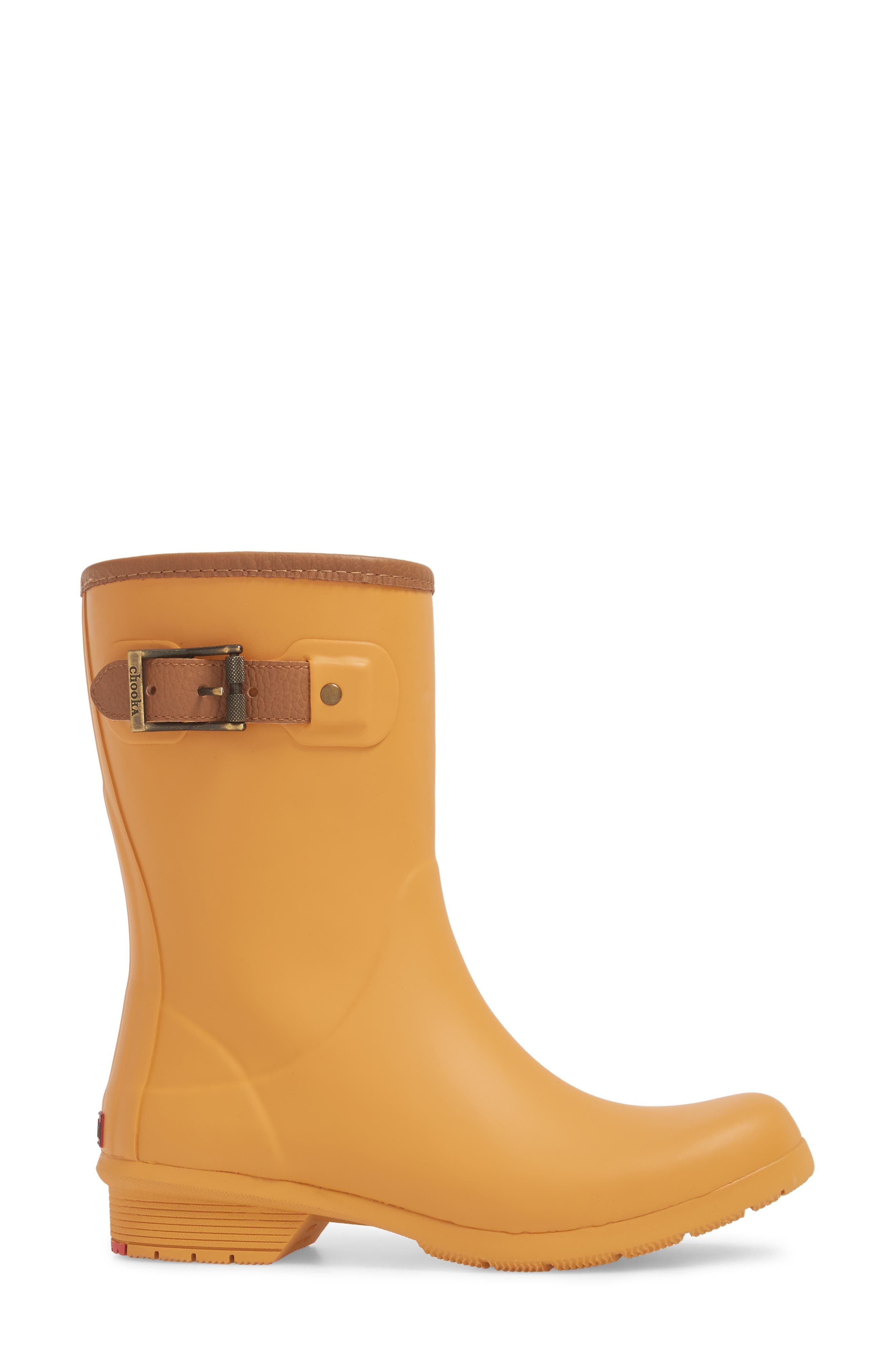 City Solid Mid Height Rain Boot,                             Alternate thumbnail 3, color,                             Saffron