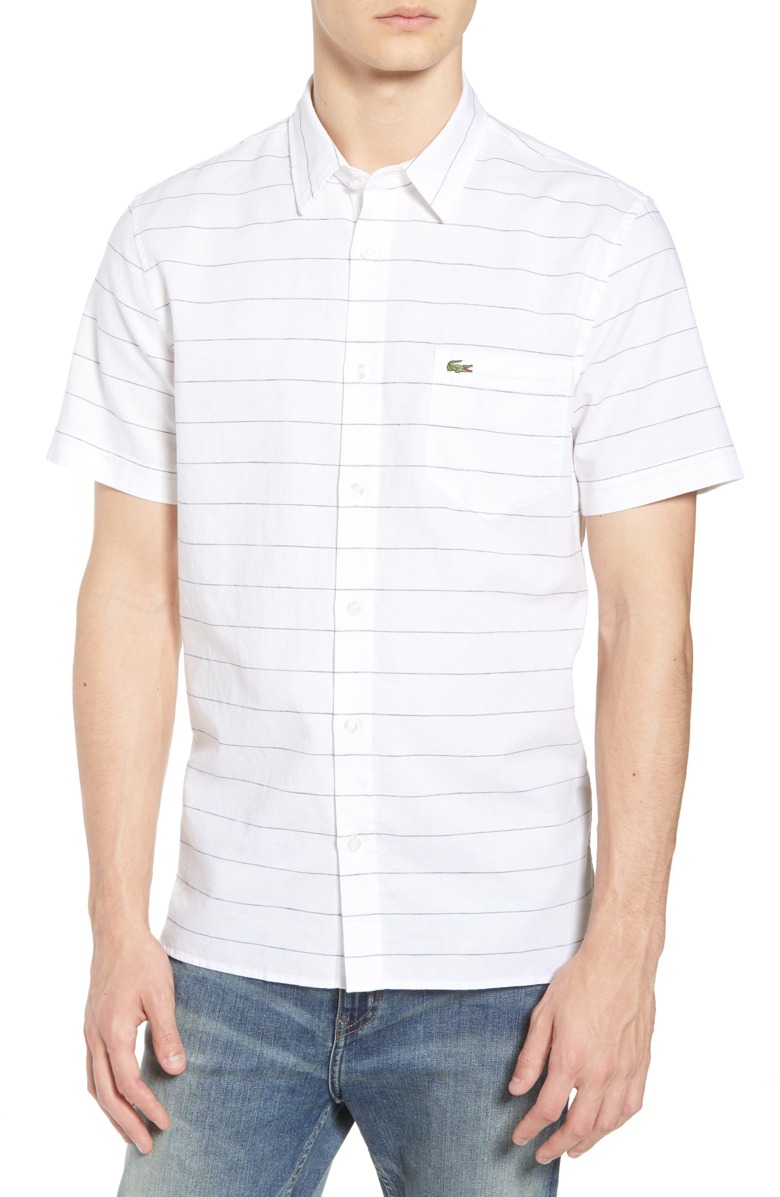 Slim Fit Stripe Cotton & Linen Sport Shirt,                         Main,                         color, White