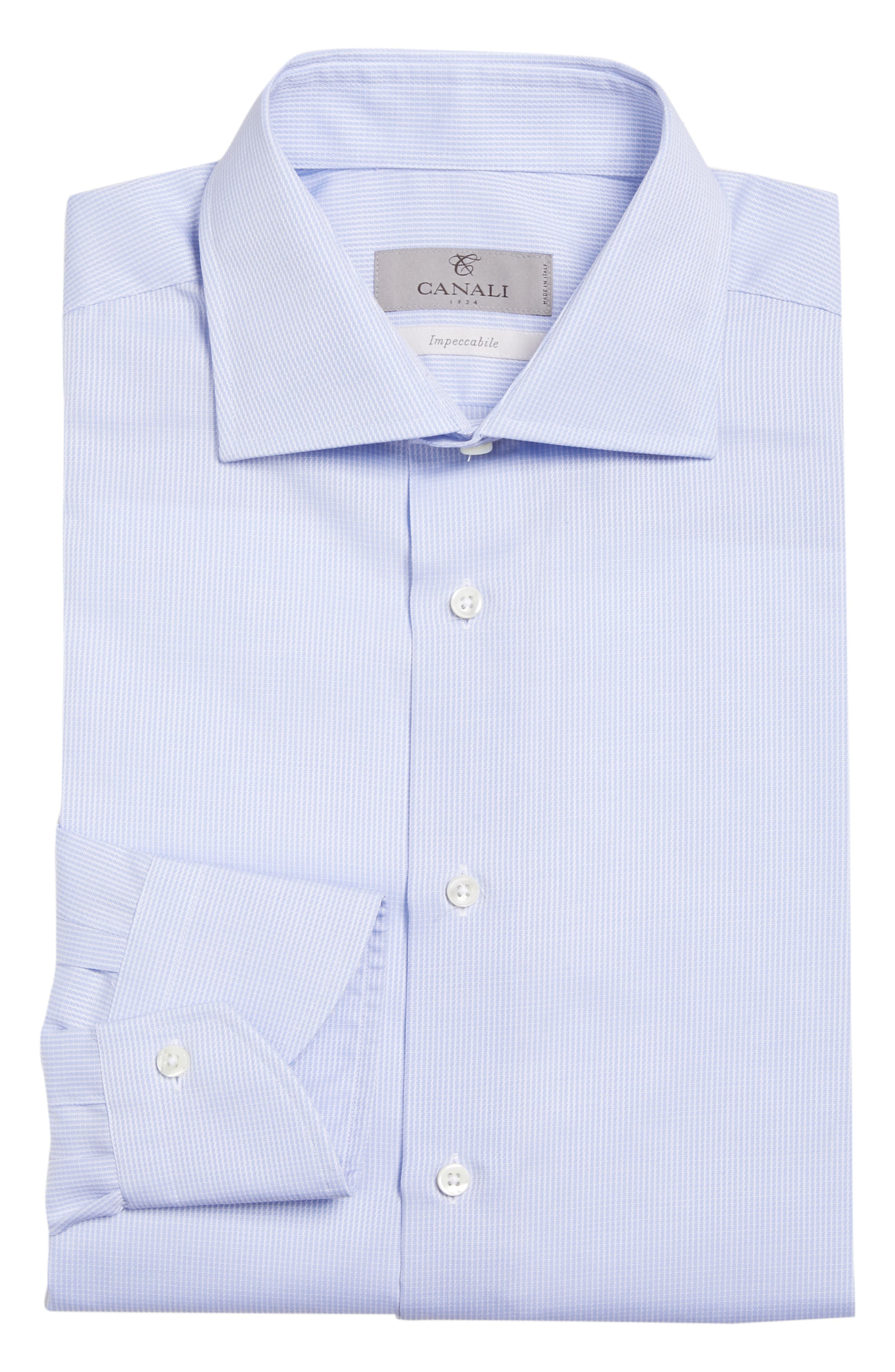Regular Fit Print Dress Shirt,                             Alternate thumbnail 6, color,                             Blue