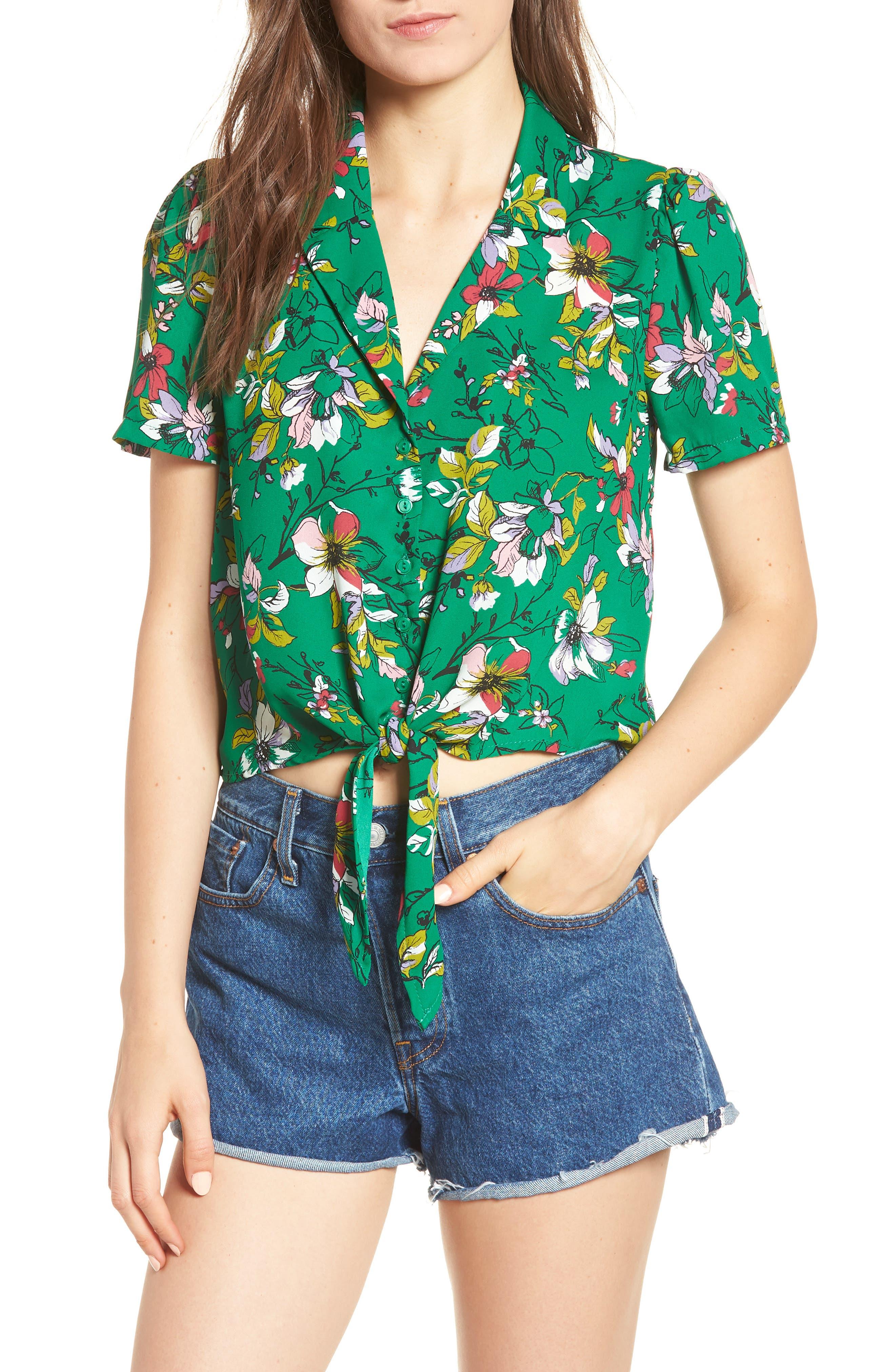 Tie Front Camp Shirt,                             Main thumbnail 1, color,                             Green Floral