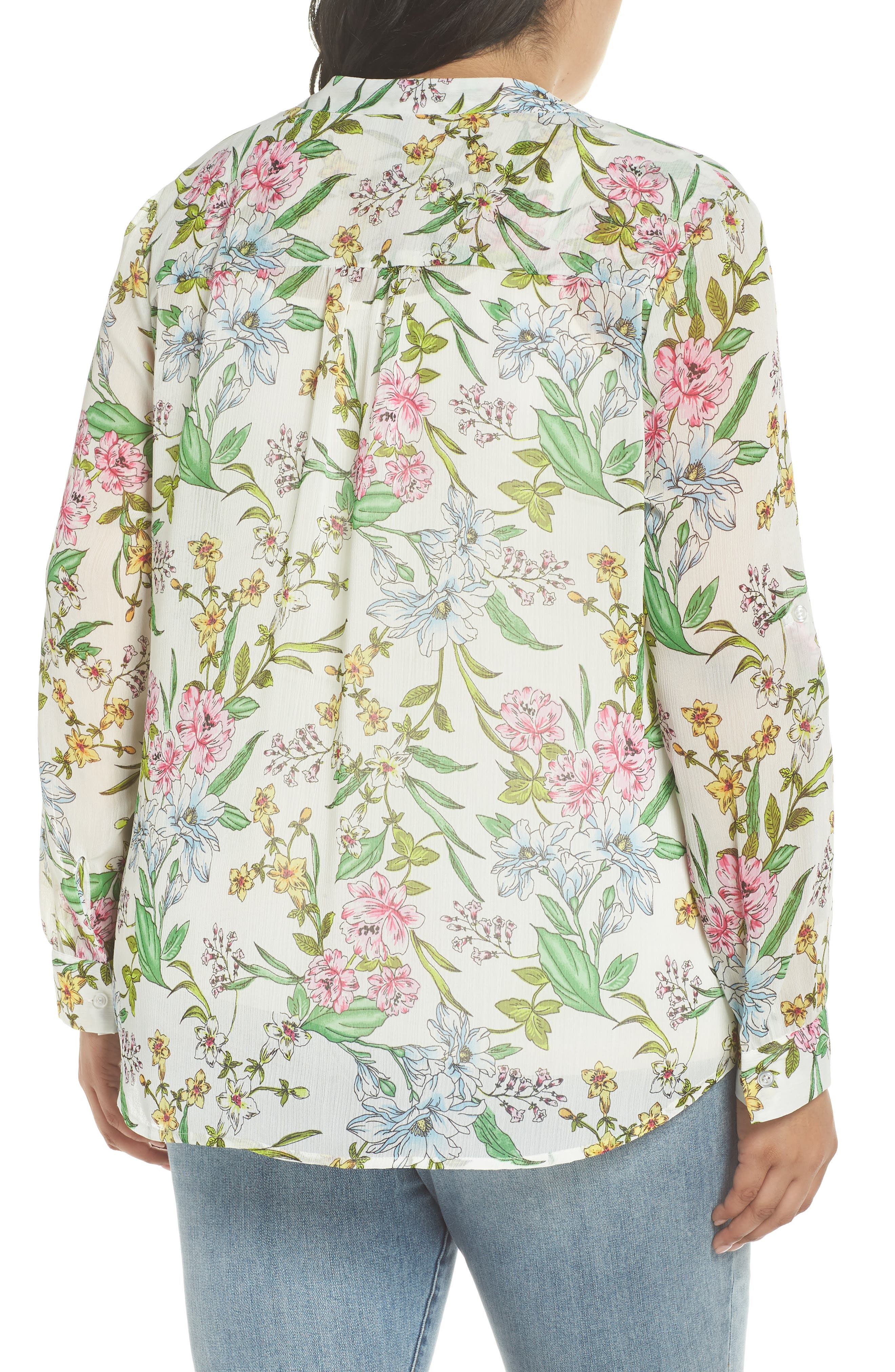 Jasmine Floral Roll Sleeve Top,                             Alternate thumbnail 2, color,                             White/ Green