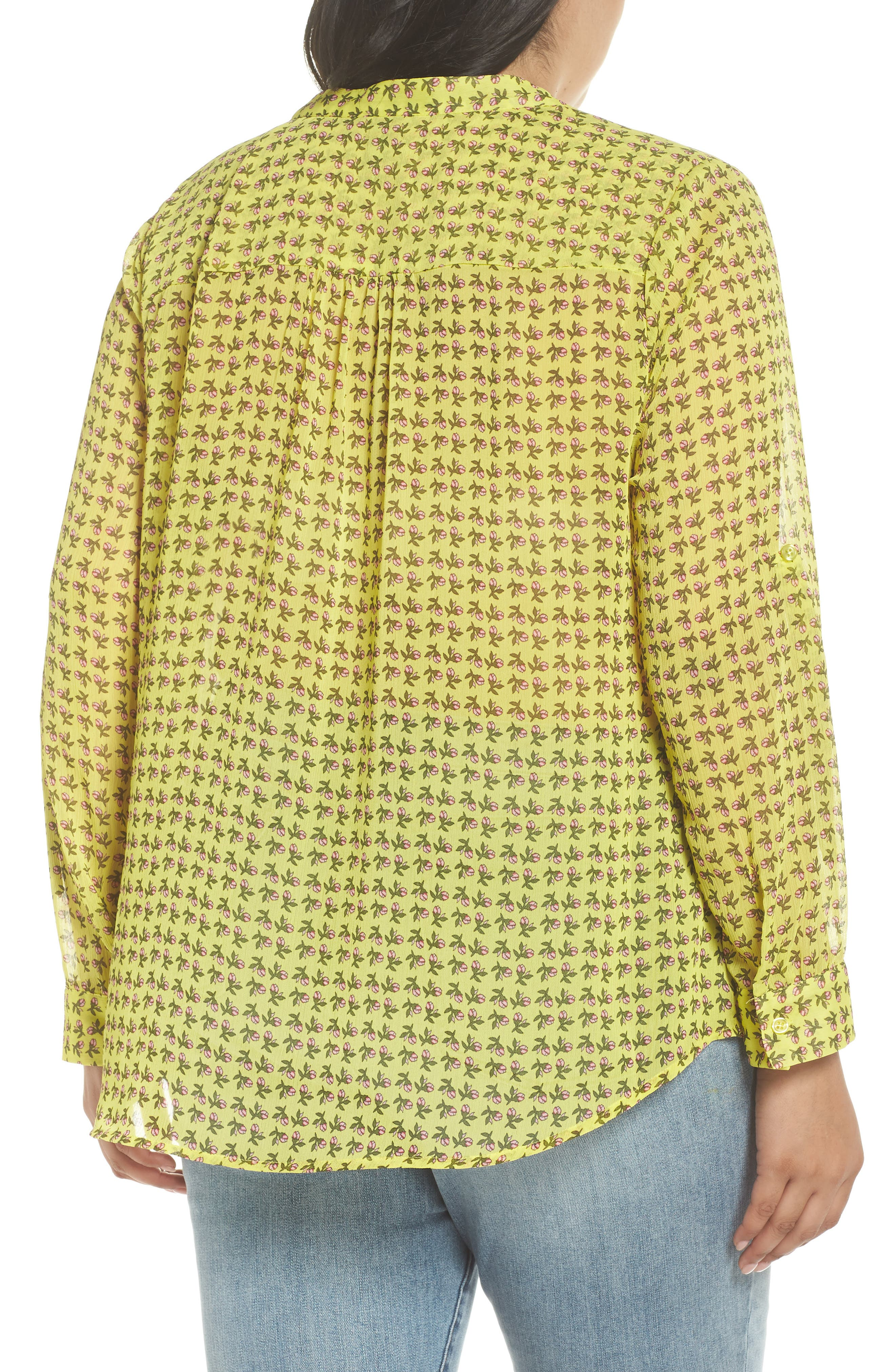 Jasmine Floral Roll Sleeve Top,                             Alternate thumbnail 2, color,                             Bright Yellow