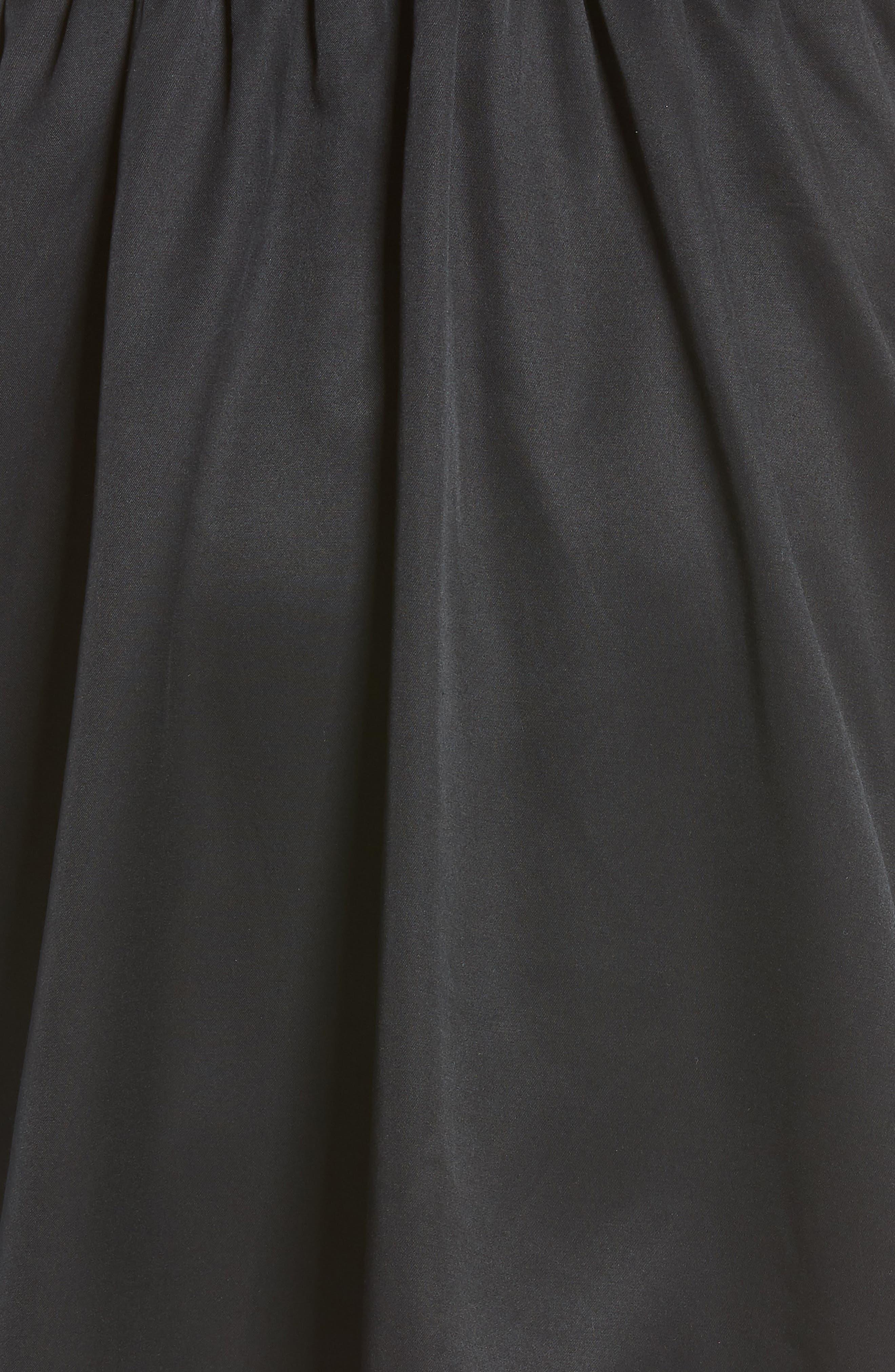 Ruffle Satin Dress,                             Alternate thumbnail 6, color,                             Black