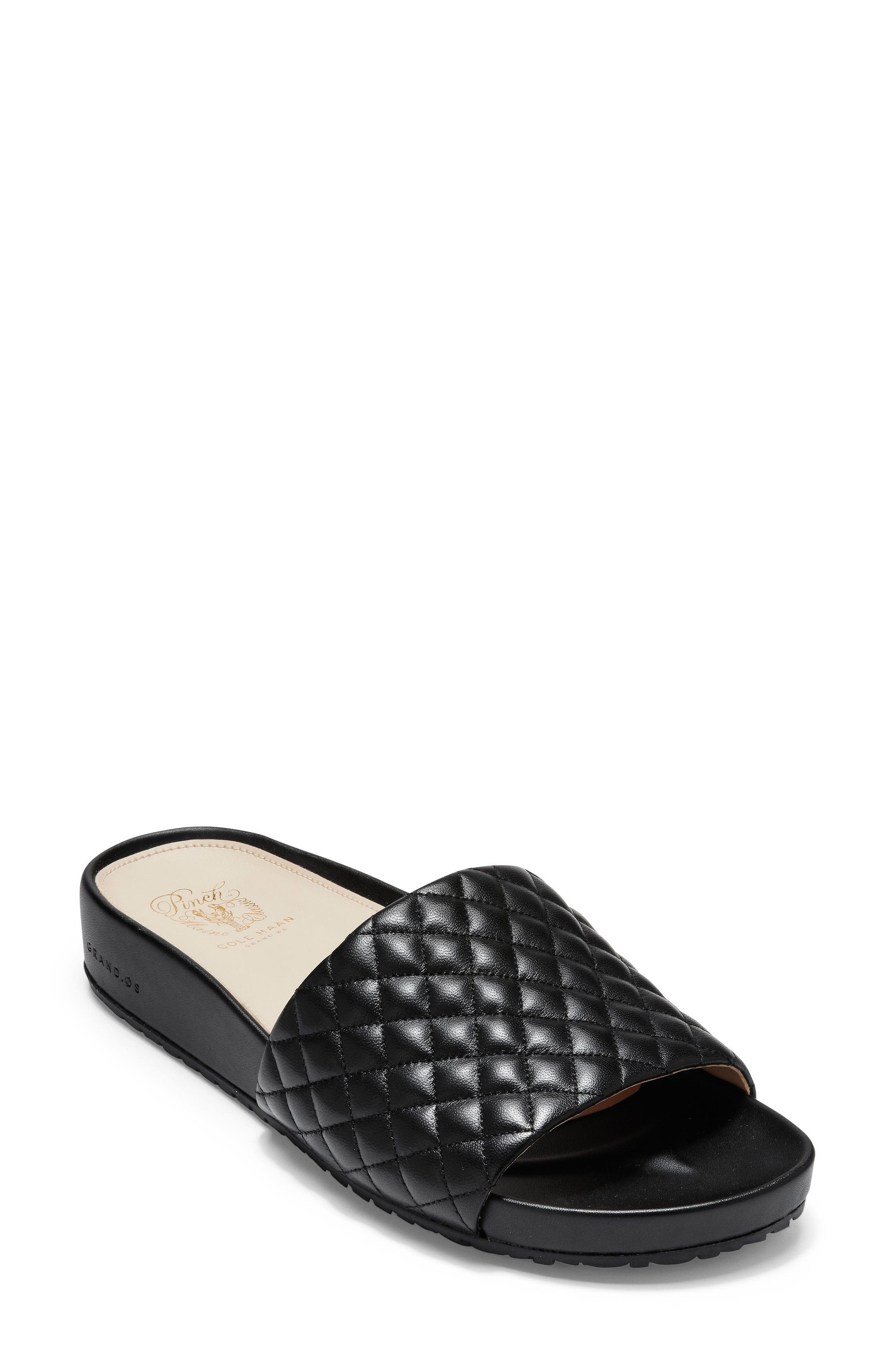 Pinch Montauk Slide Sandal,                             Main thumbnail 1, color,                             Black Quilted Leather