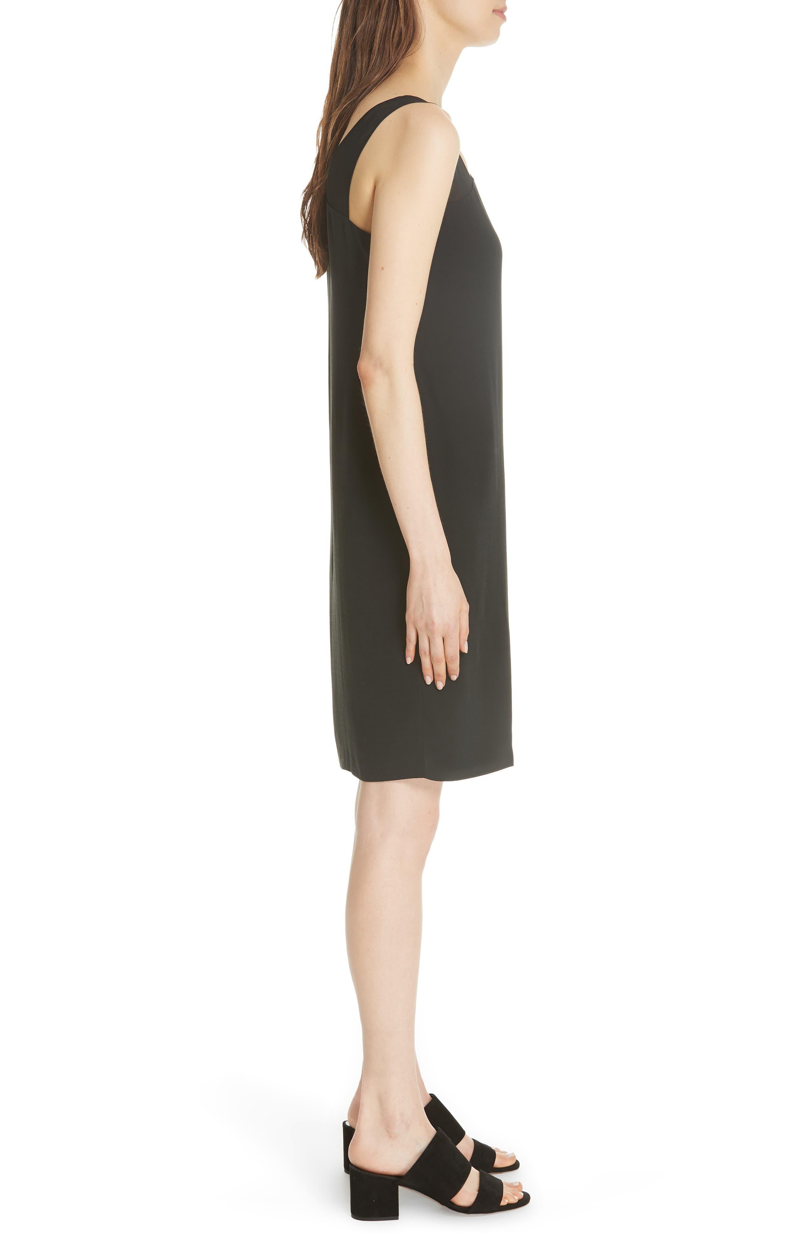 Sheer Strap Silk Shift Dress,                             Alternate thumbnail 3, color,                             Black