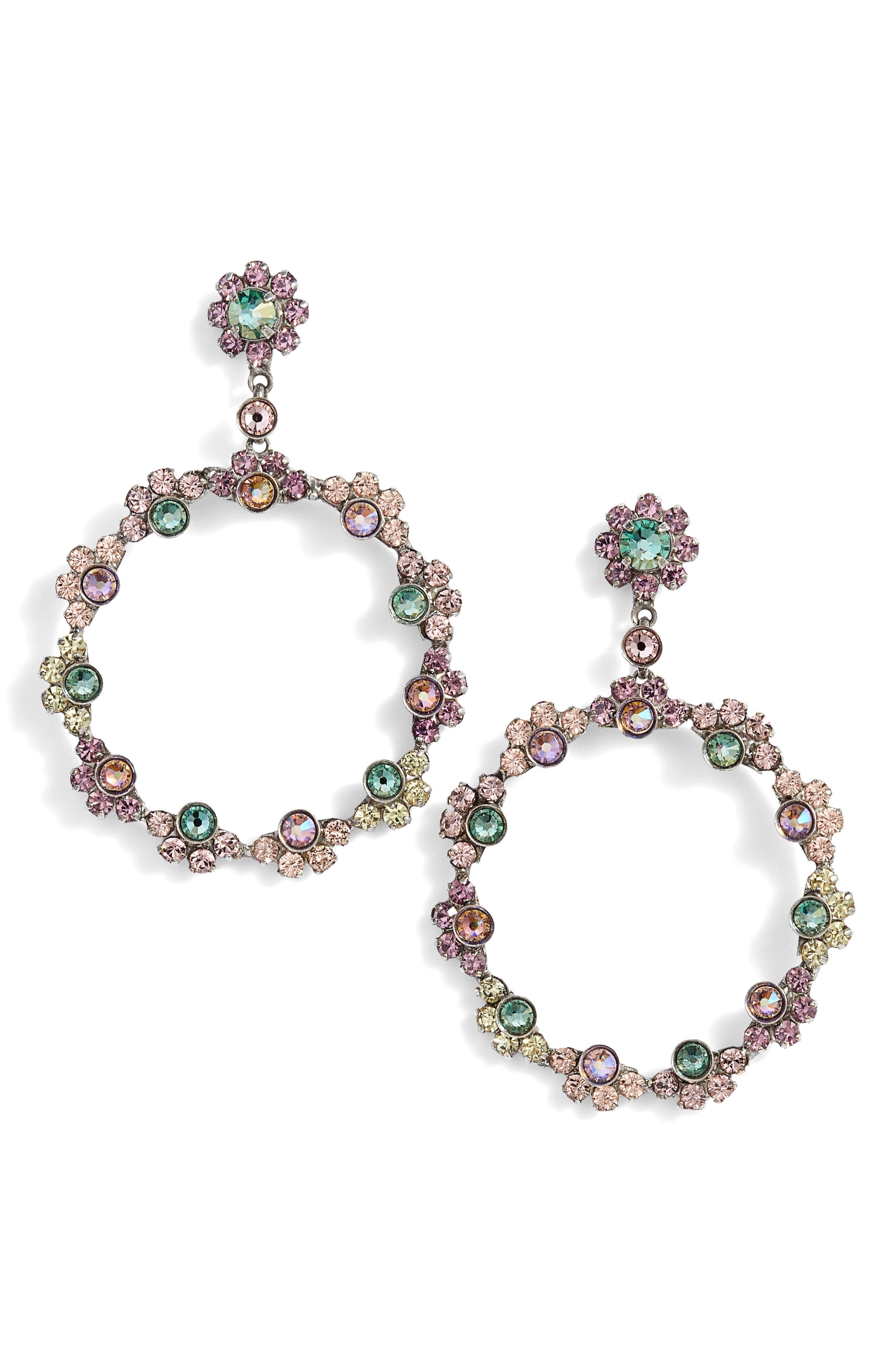 Cirque Crystal Hoop Earrings,                             Main thumbnail 1, color,                             Purple