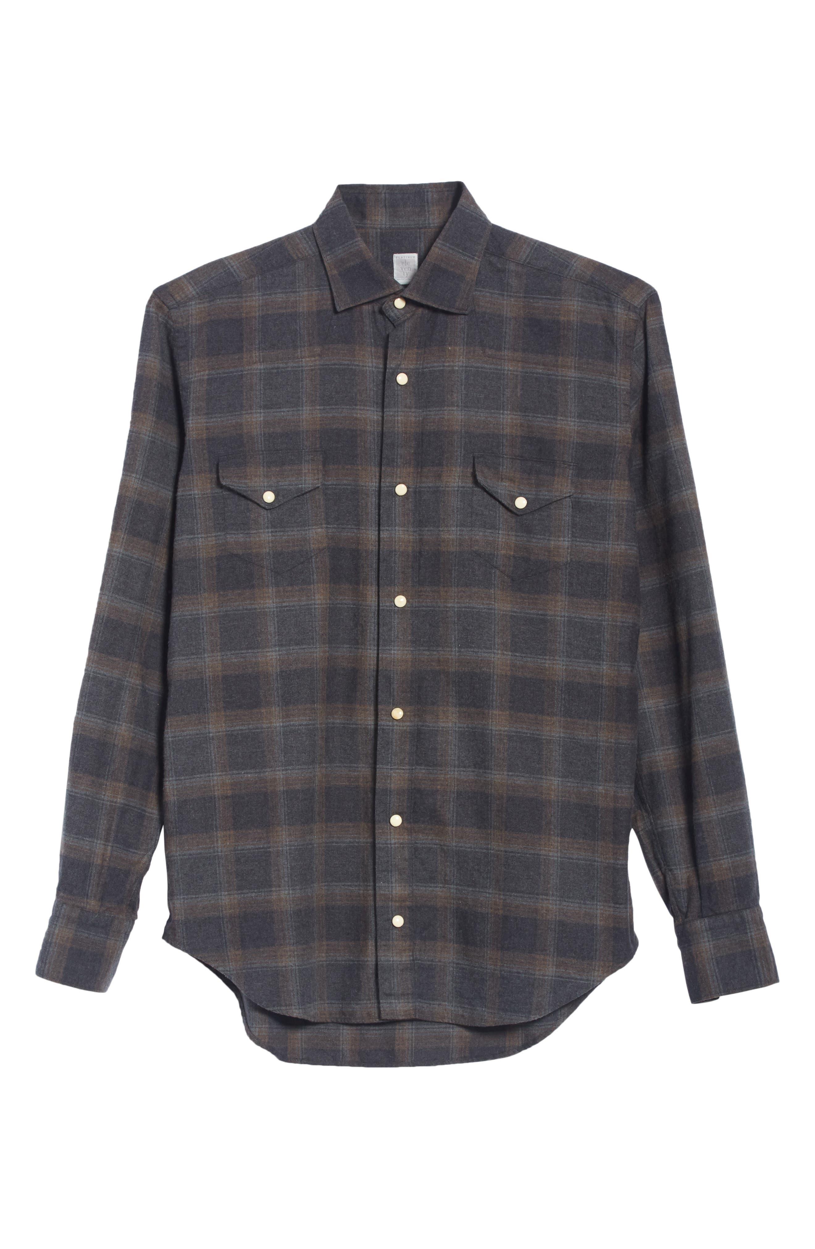 Slim Fit Plaid Western Shirt,                             Alternate thumbnail 4, color,                             Grey/ Brown