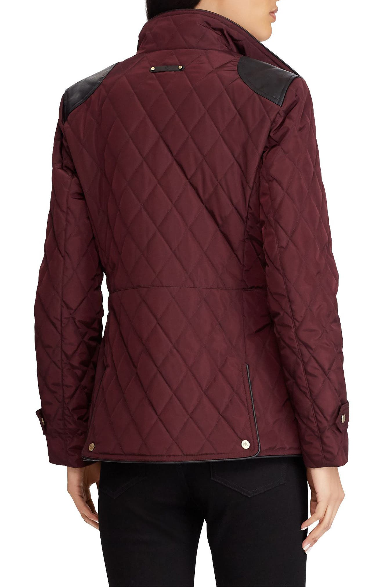 Quilted Faux Leather Trim Jacket,                             Alternate thumbnail 2, color,                             Burgundy