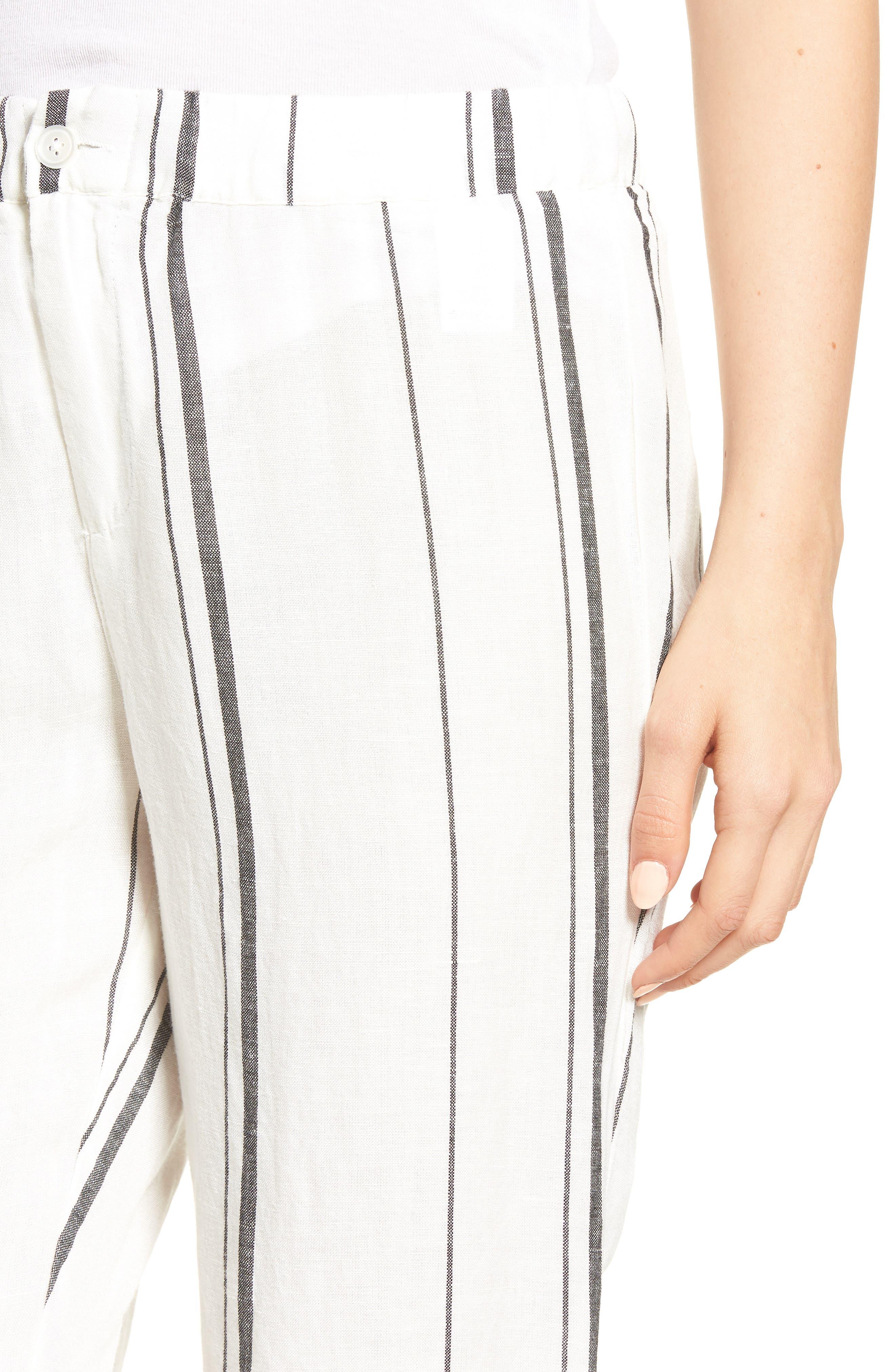 Annika Stripe Crop Pants,                             Alternate thumbnail 4, color,                             Black/ White