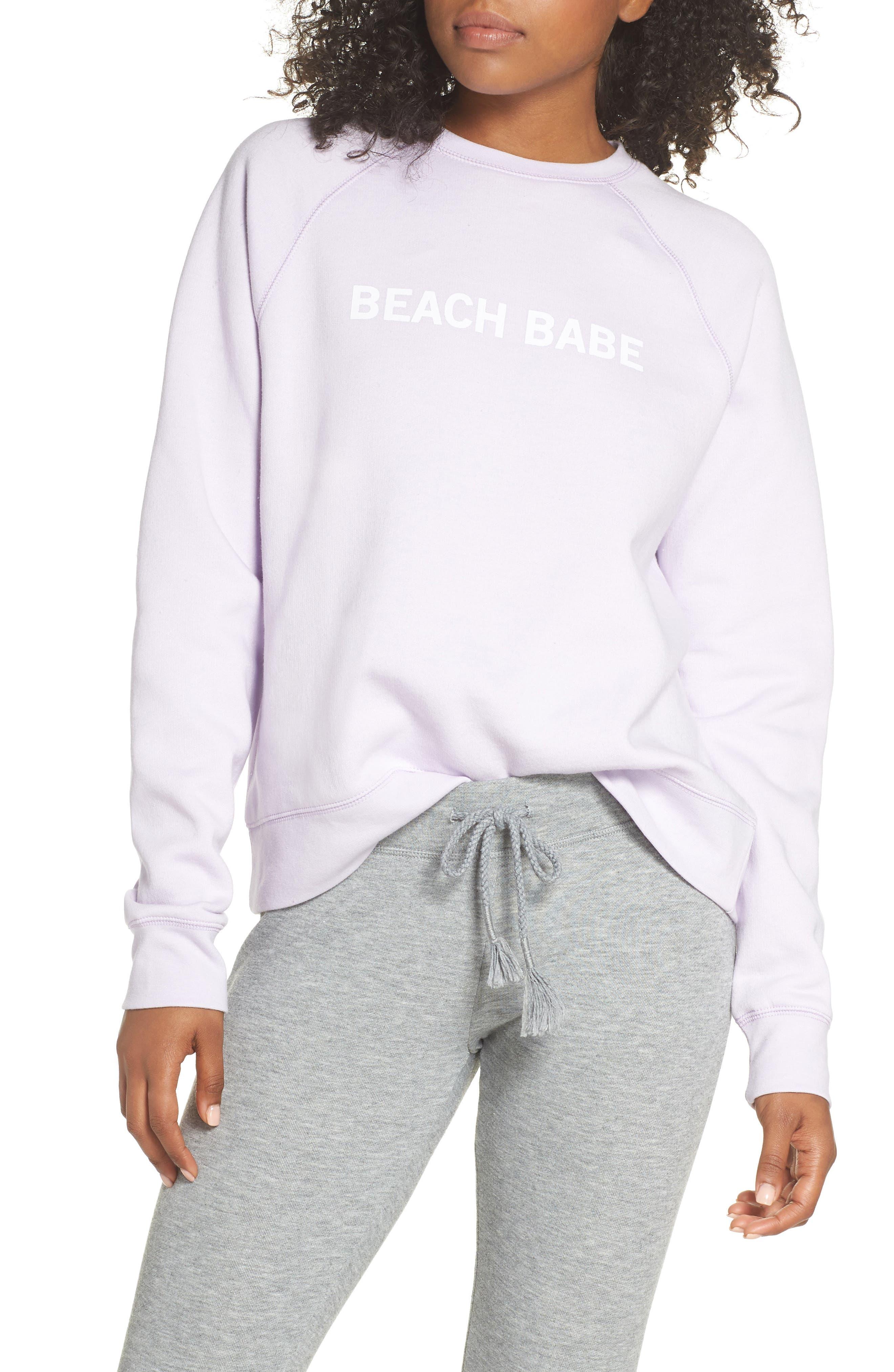 Beach Babe Middle Sister Crewneck Sweatshirt,                         Main,                         color, Soft Lavender
