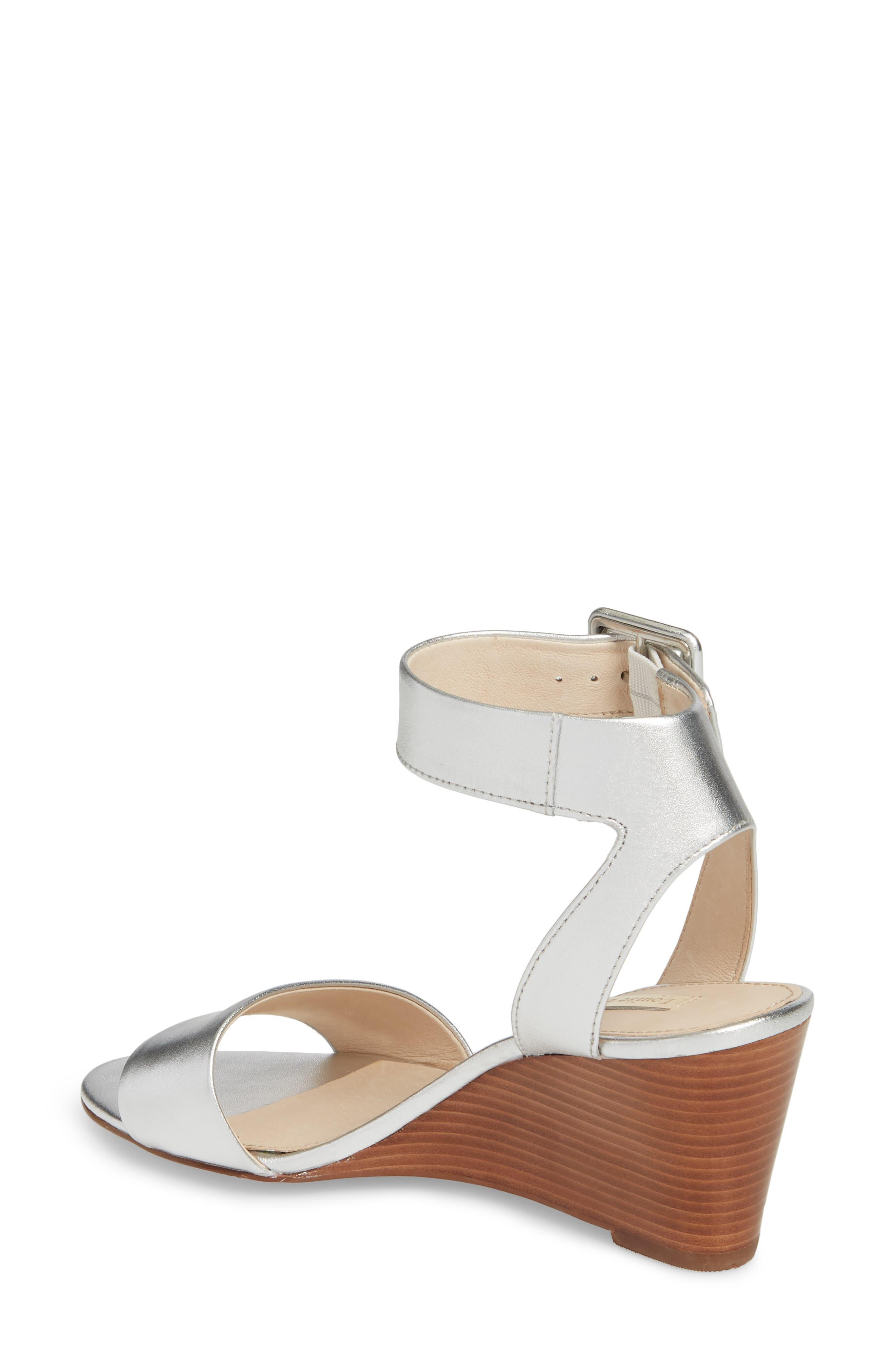 Punya Wedge Sandal,                             Alternate thumbnail 2, color,                             Metallic Silver Leather