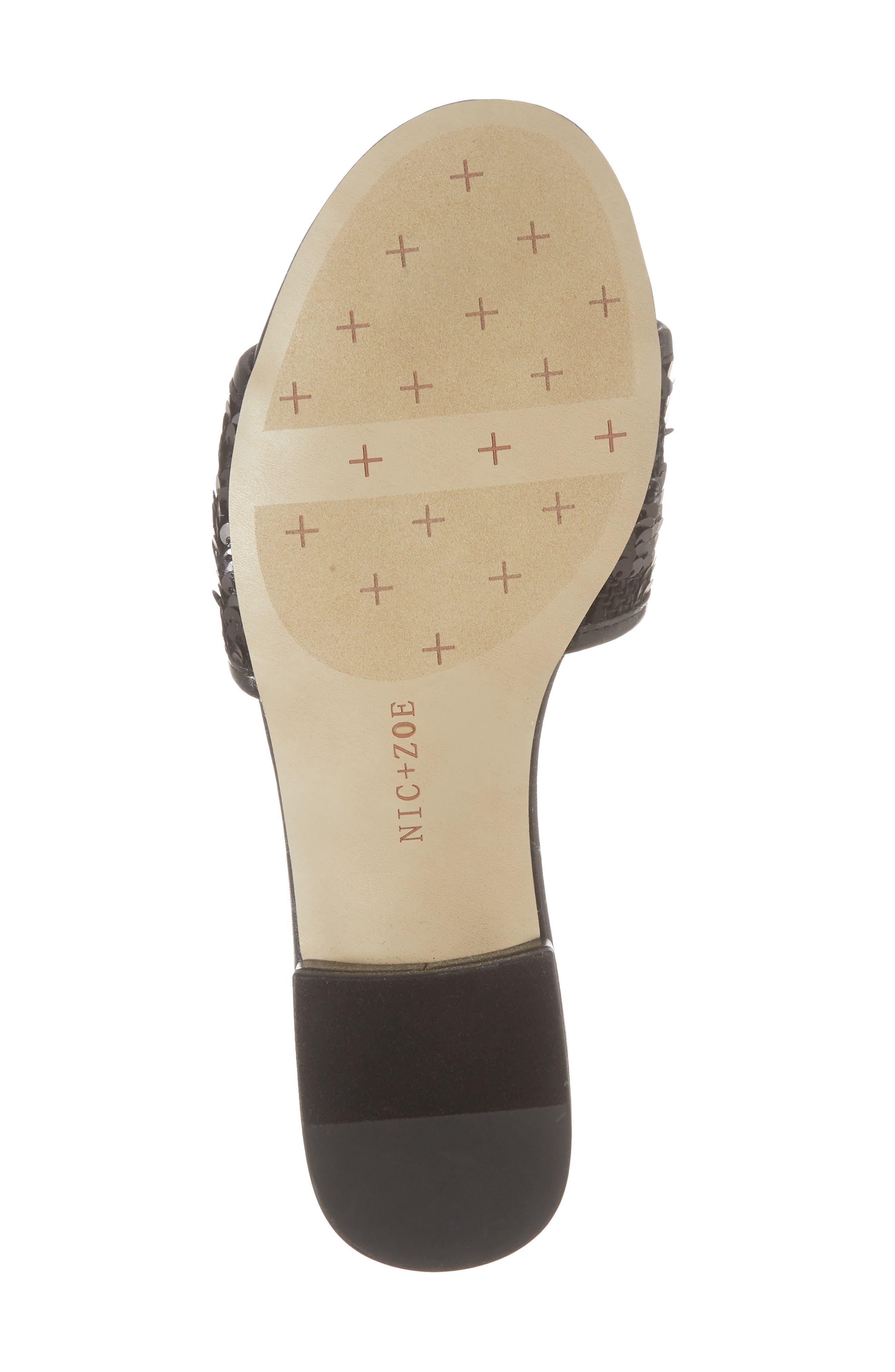 NIC + ZOE Sandy Sequin Low Heel Slide,                             Alternate thumbnail 6, color,                             Black Fabric