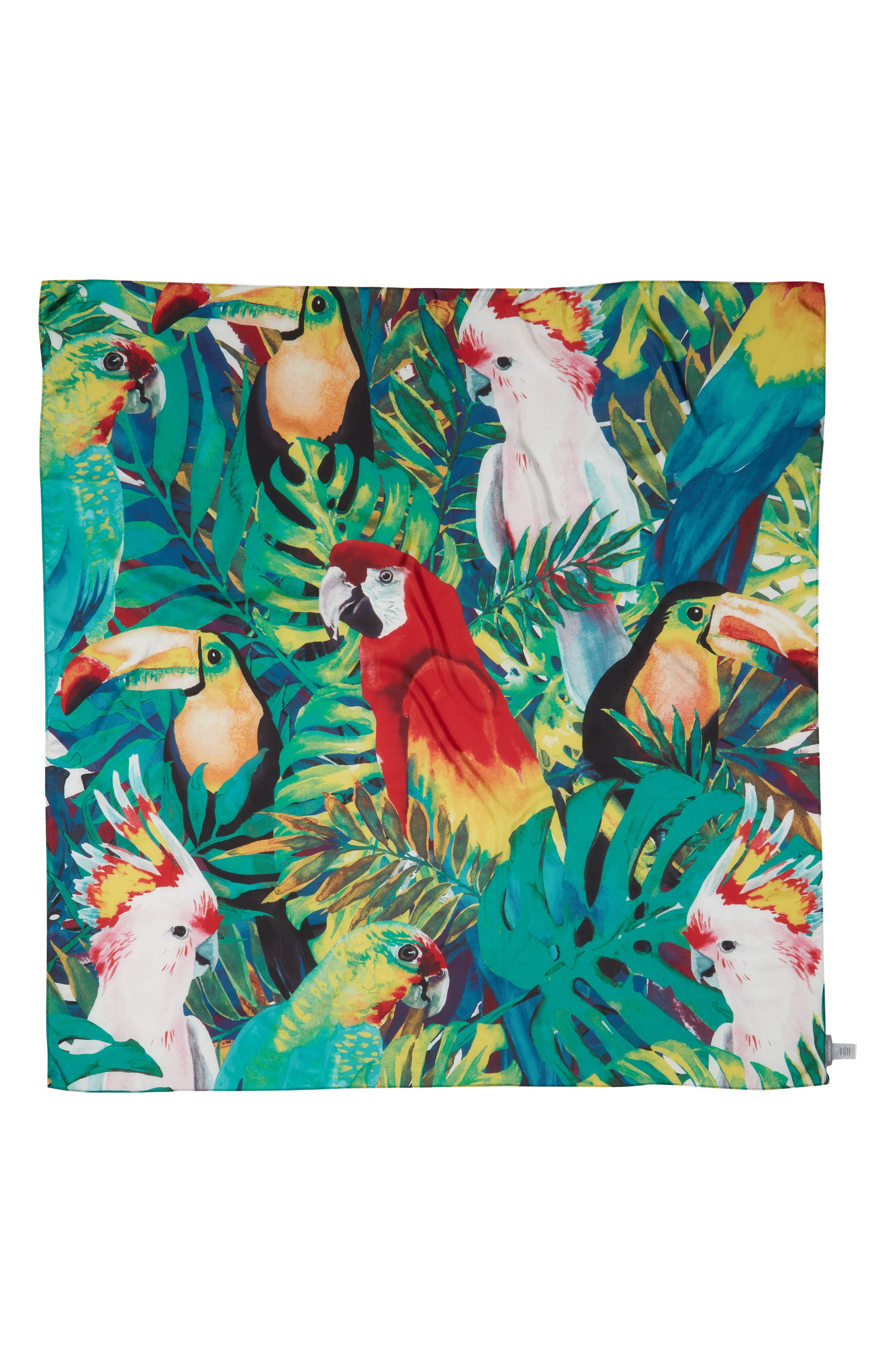 Oversized Print Square Scarf,                             Alternate thumbnail 2, color,                             Yellow Birds Of Paradise