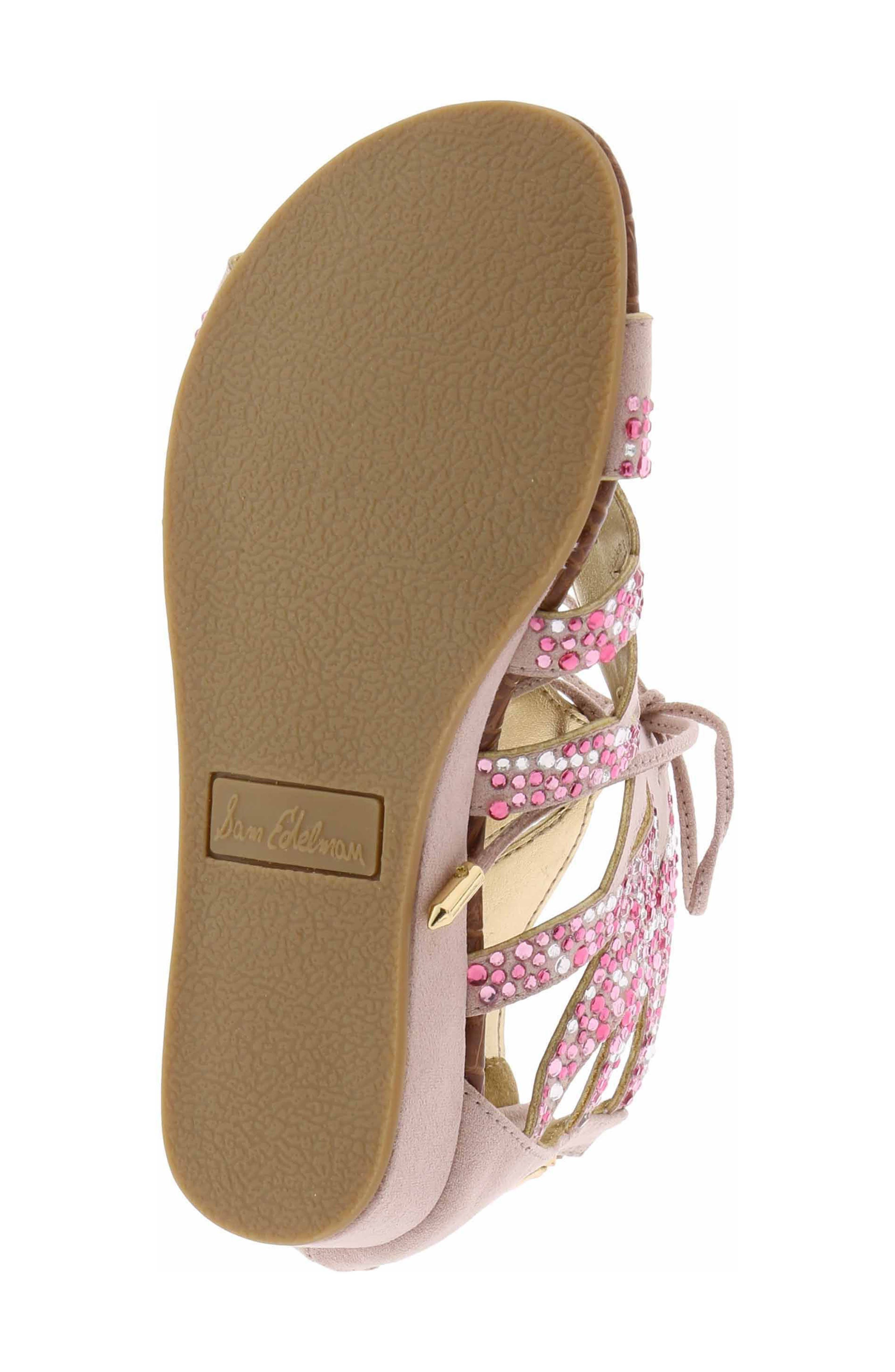 Danica Crystal Embellished Sandal,                             Alternate thumbnail 4, color,                             Blush Faux Suede