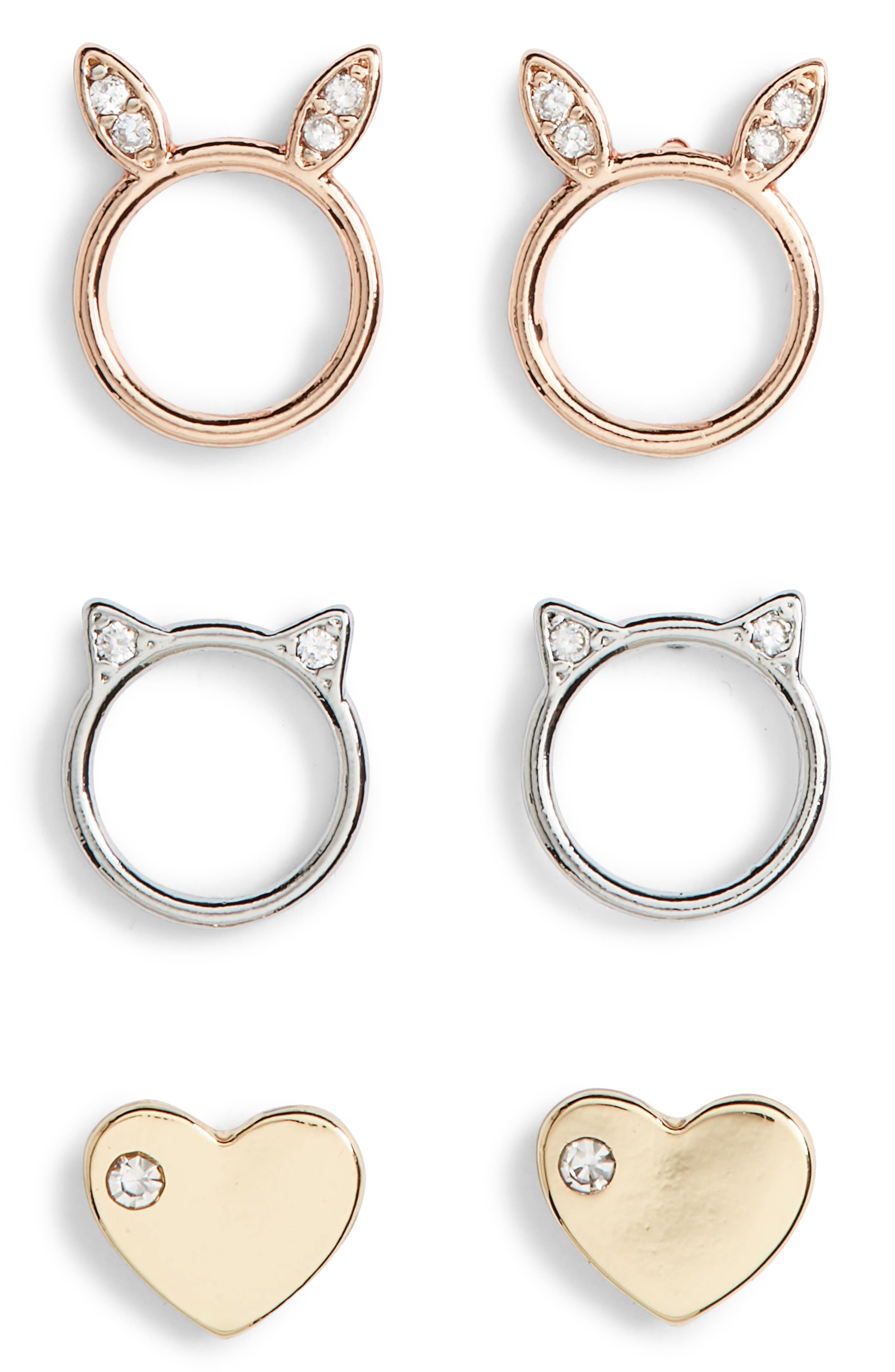 Animal Love Assorted 3-Pack Stud Earrings,                             Main thumbnail 1, color,                             Gold/ Silver/ Rose Gold