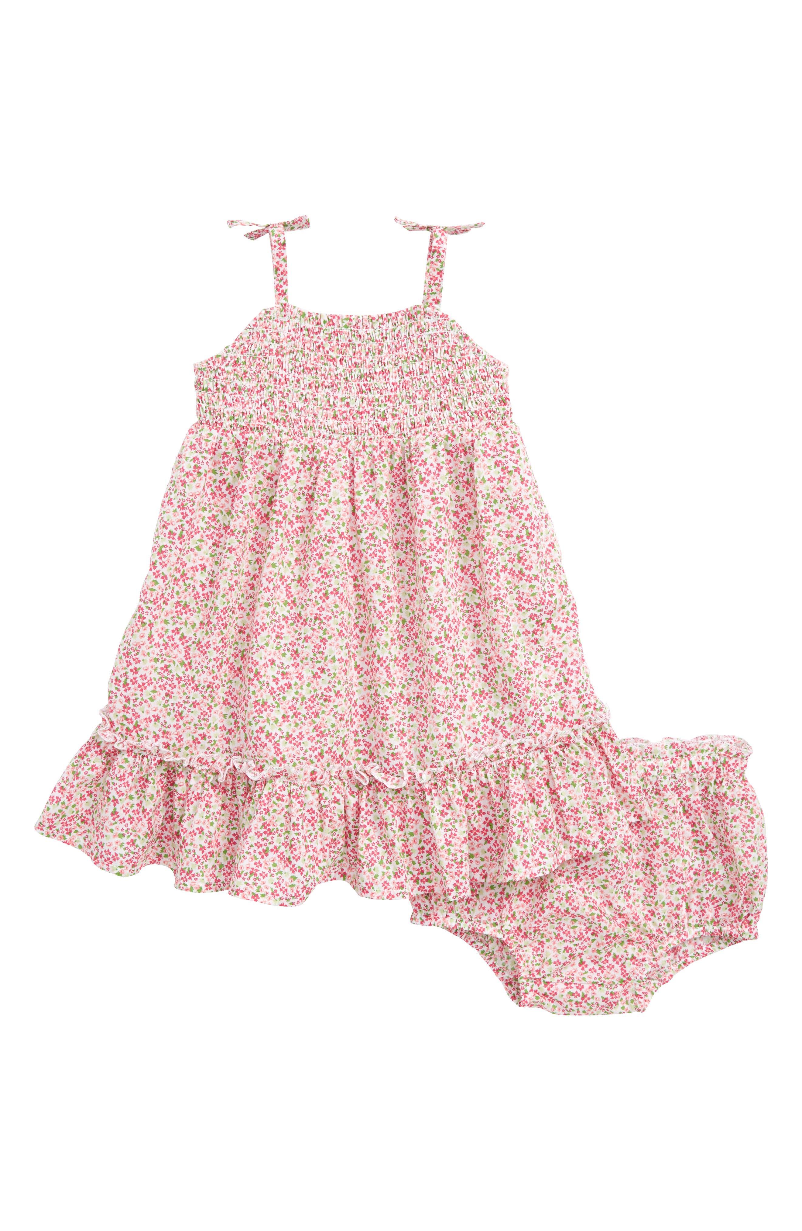 Ditzy Smock Dress,                         Main,                         color, White- Pink Dense Floral