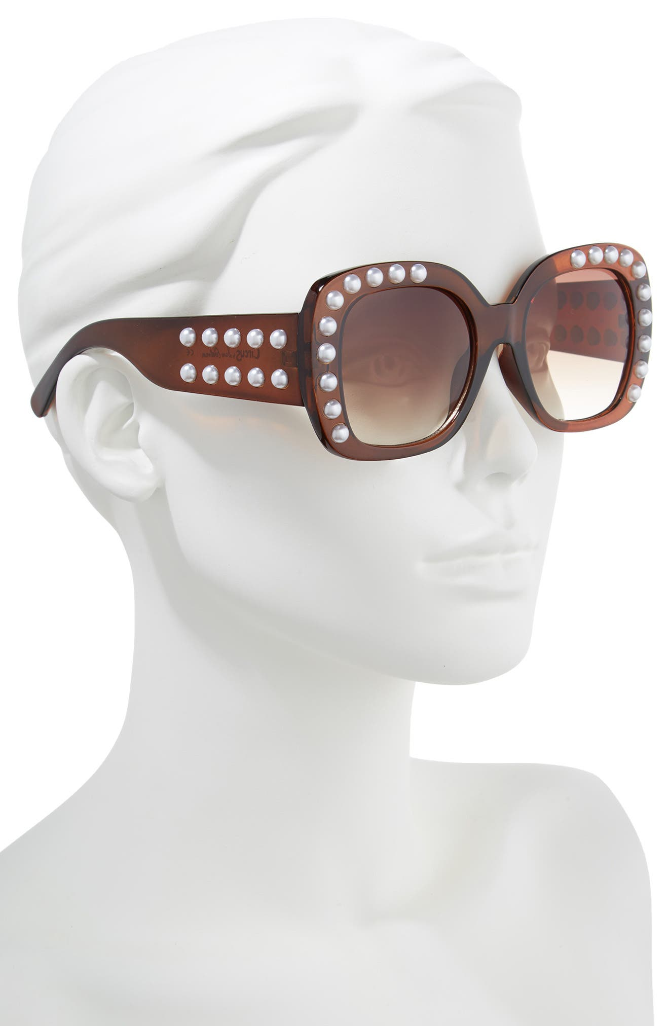 53mm Imitation Pearl Sunglasses,                             Alternate thumbnail 2, color,                             Brown