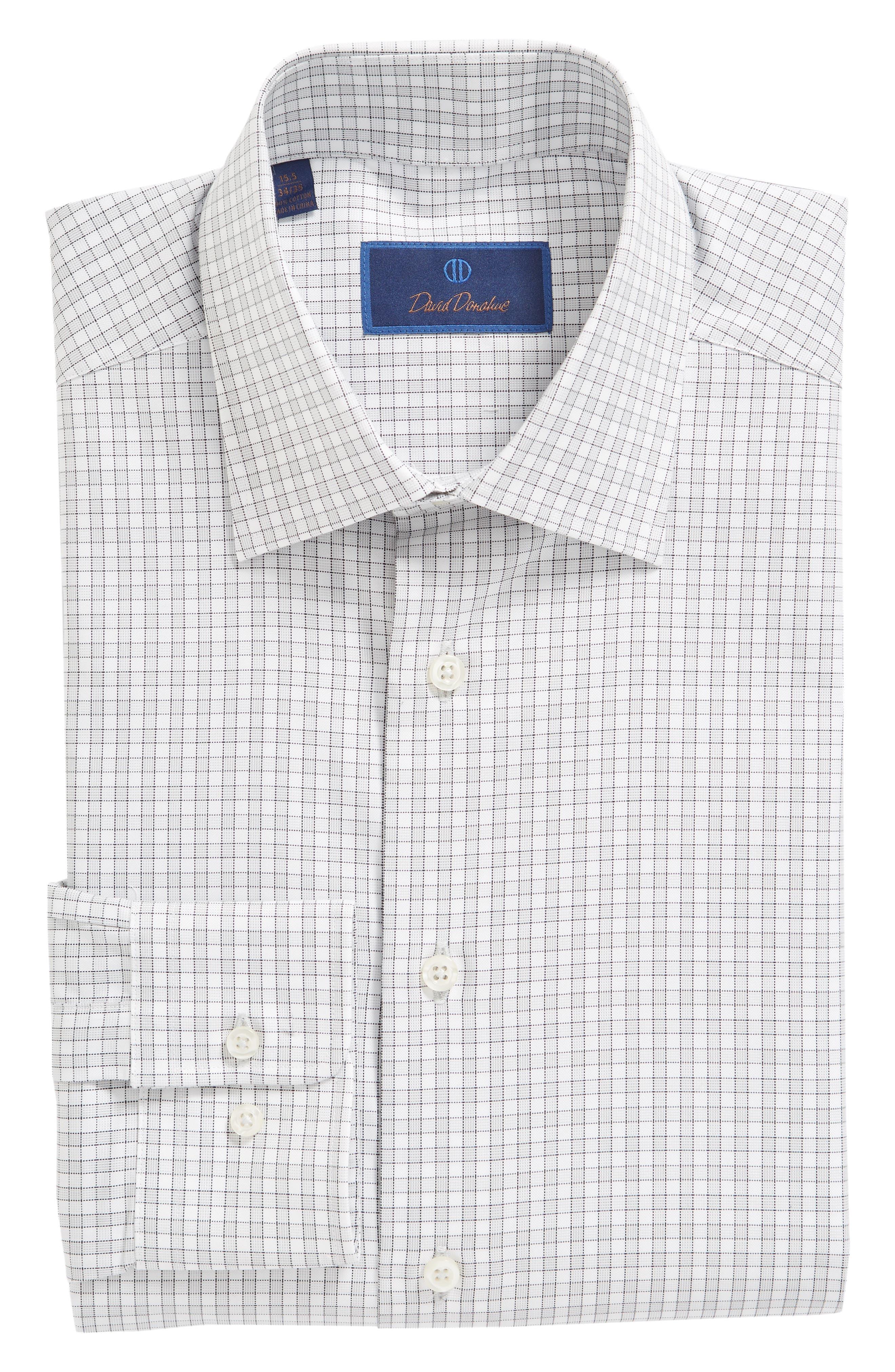 Regular Fit Check Dress Shirt,                             Alternate thumbnail 6, color,                             Gray