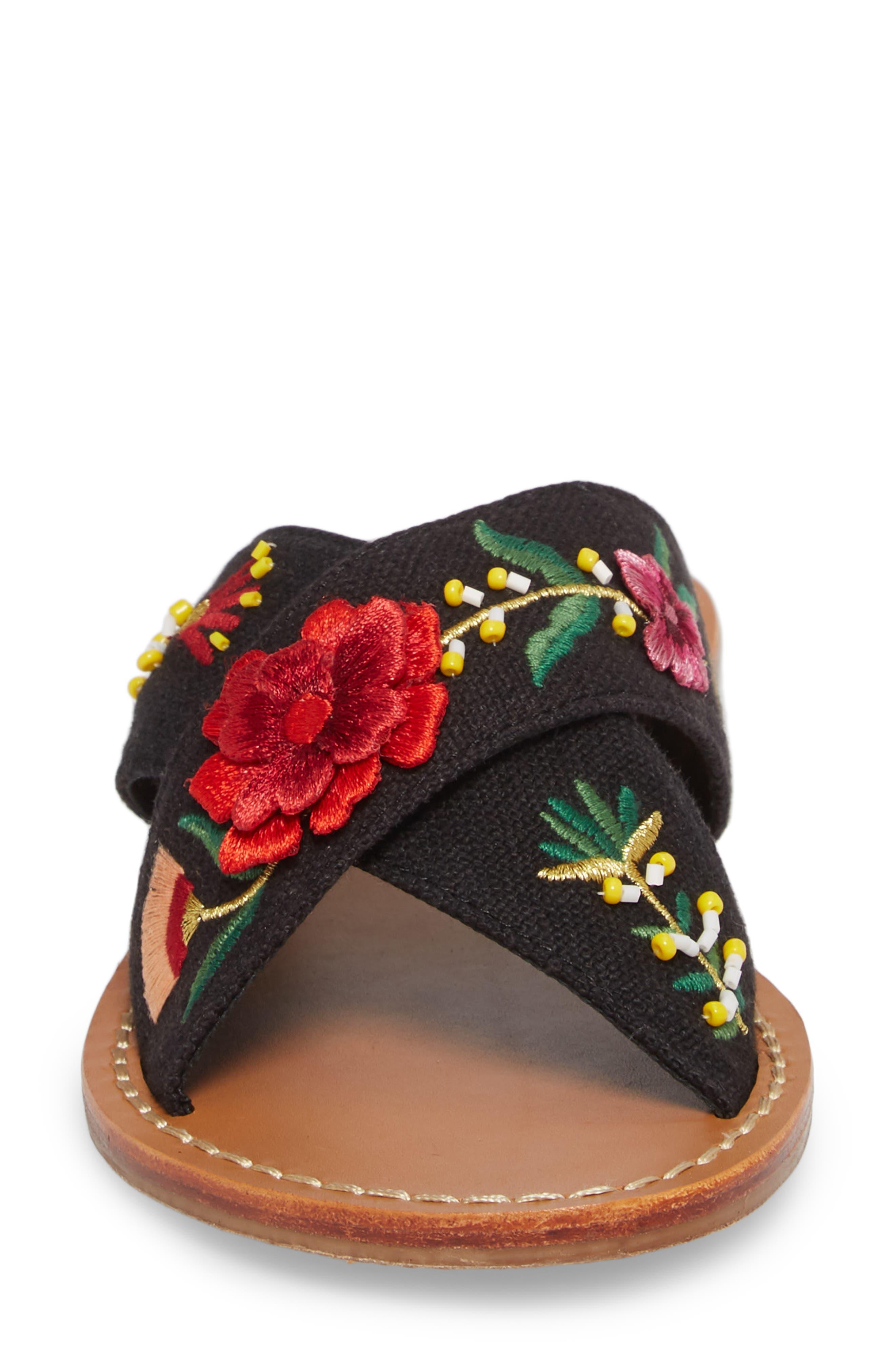Embellished Floral Sandal,                             Alternate thumbnail 4, color,                             Black