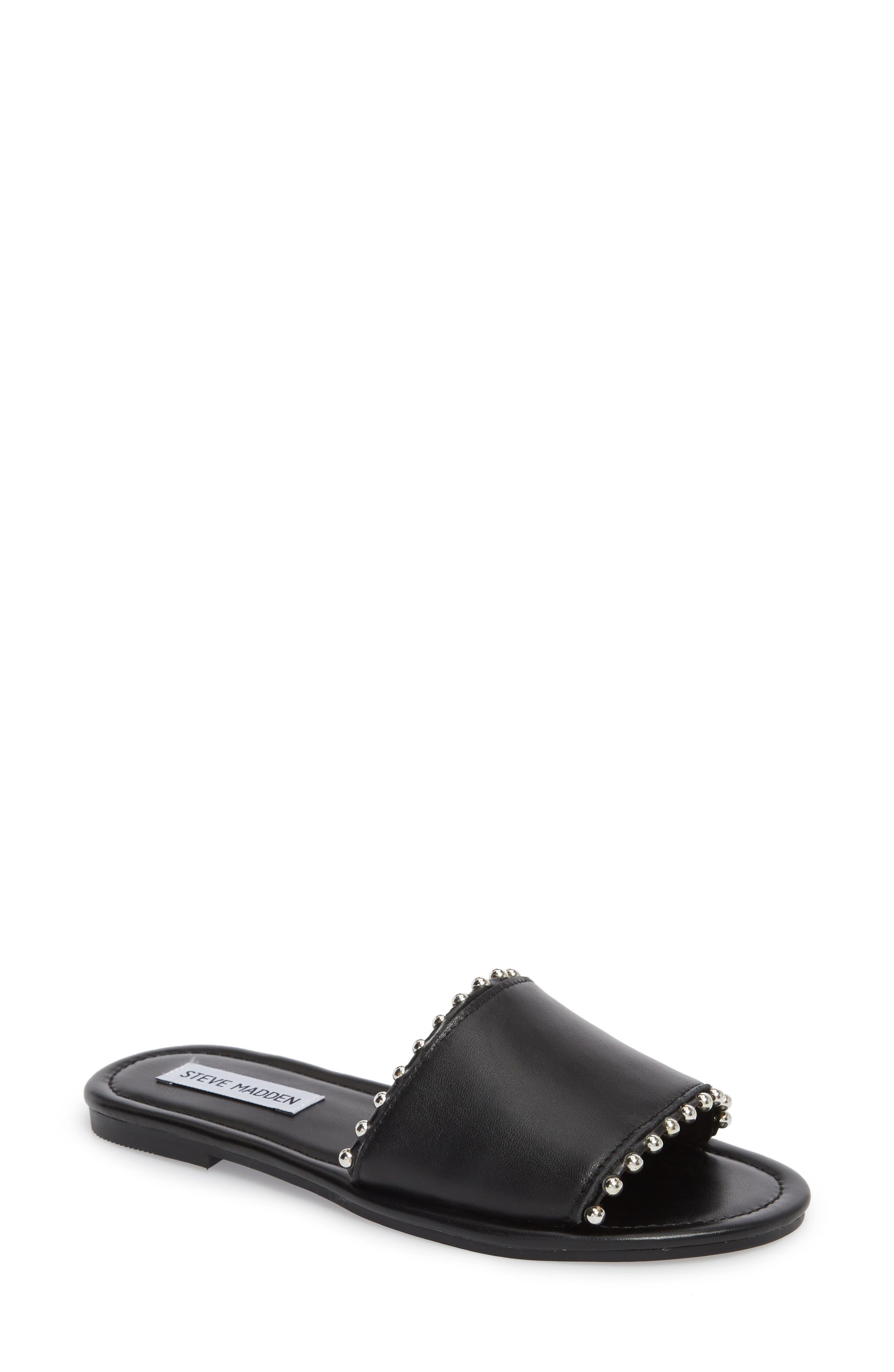 Brew Slide Sandal,                         Main,                         color, Black Leather
