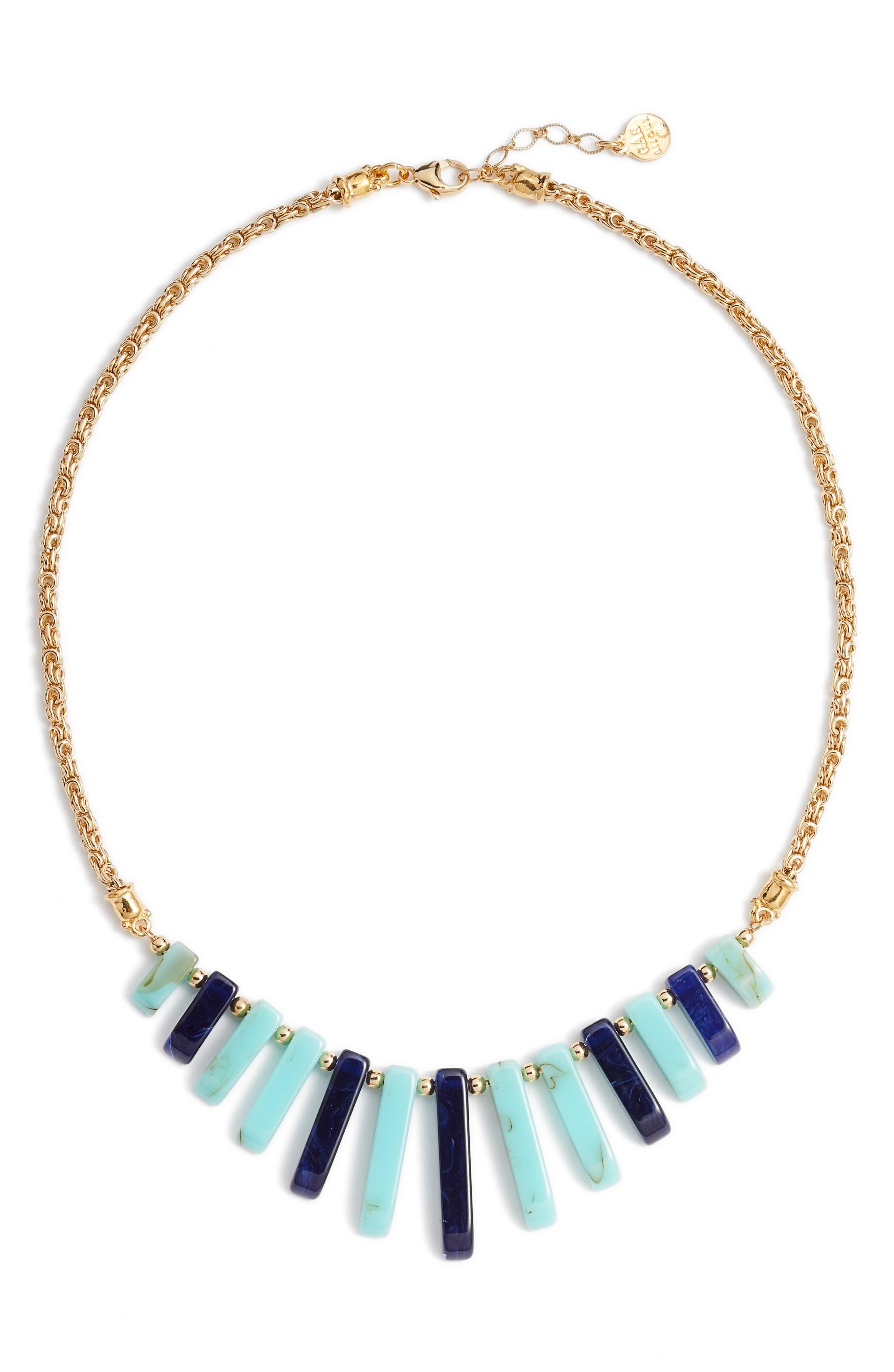 Cascade Bib Necklace,                         Main,                         color, Blue